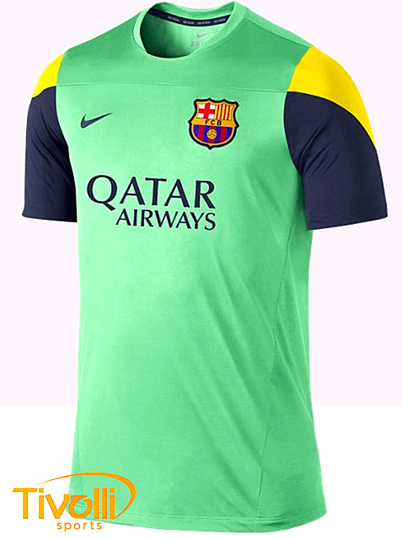 Black Friday Camisa Nike Barcelona Treino 2013 14 Verde Azul Marinho E Amarela