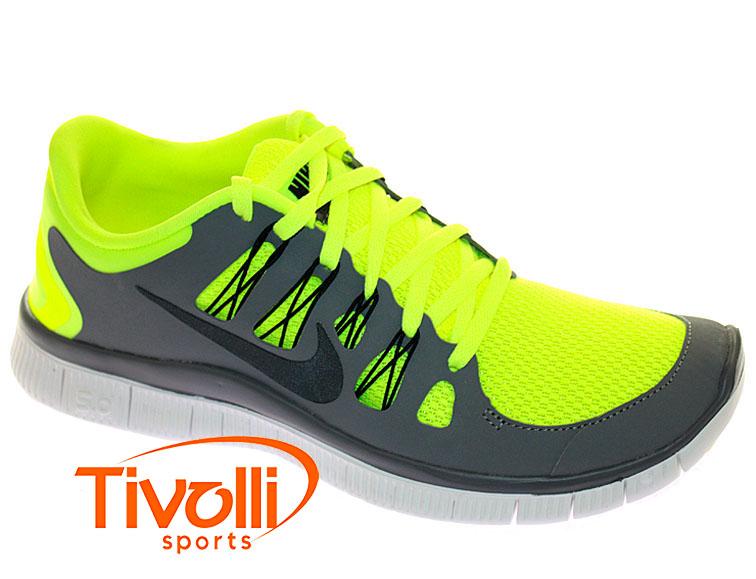 0c8c656725c Tênis Nike   Free 5.0+ Cinza e Verde Limão 579959-700