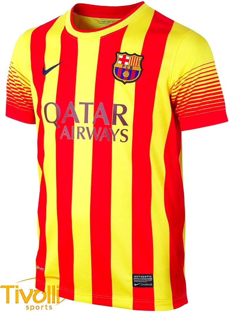 Black Friday - Camisa Nike Barcelona II Away 2013 2014 - Vermelha e amarela 035727289cc56