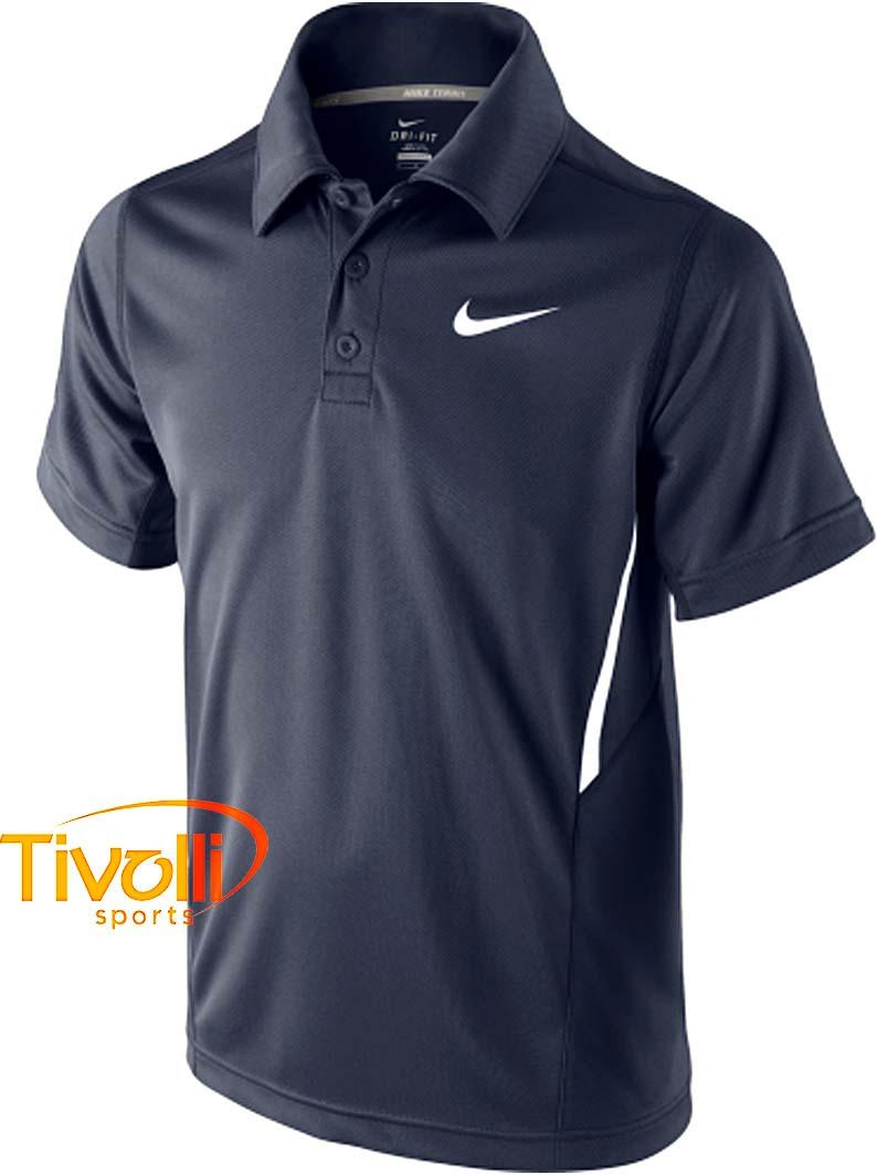 Camisa Polo Nike Dri-FIT UV Border Infantil   Marinho - Ref  522356 ... 523b51f21bc20