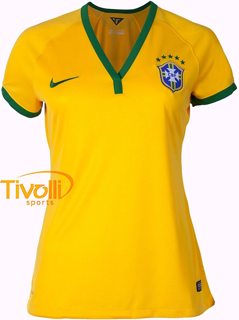 Black Friday - Camisa Nike Brasil CBF I Home Feminina 2014 Amarela e verde ed8a271ddd2ef