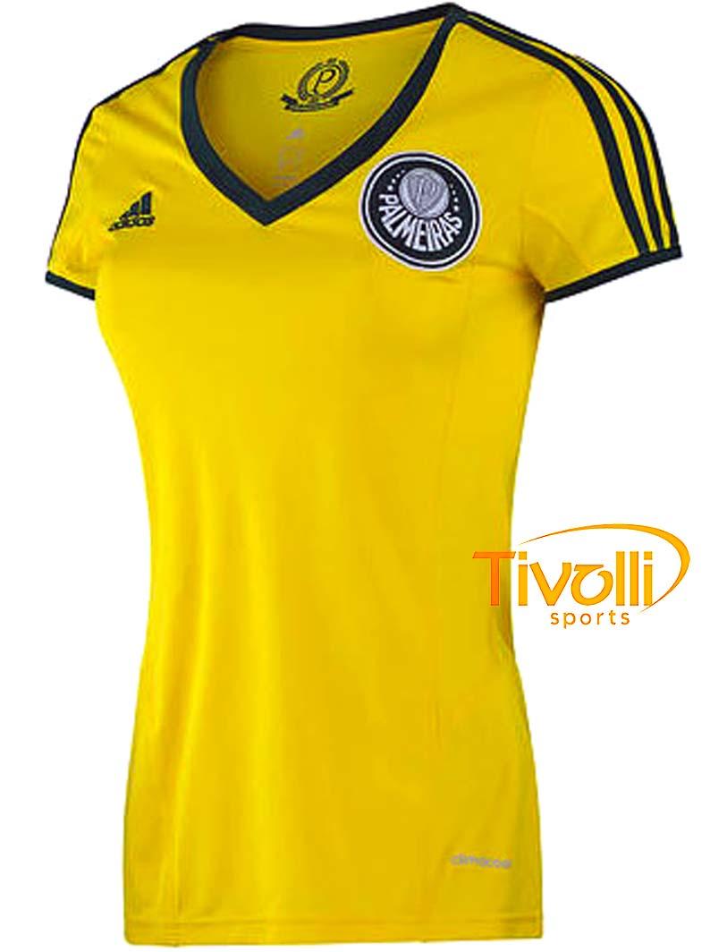 fbb63be6c6 Camisa Adidas Baby Look Palmeiras III Feminina Centenário Amarelo e Verde