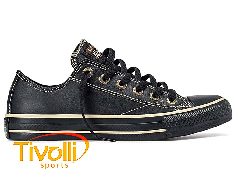 Tênis Converse All Star CT As European Ox Preto com borracha preta CT328001 7b05979ffbe64