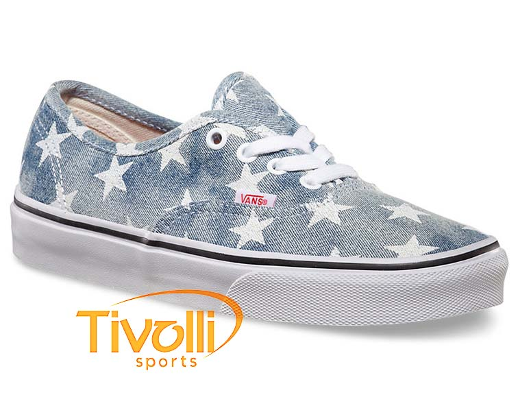 2ab686bda9a Tênis Vans Authentic (washed) Azul Jeans  Branco (estrelas) VN-0W4NDVD