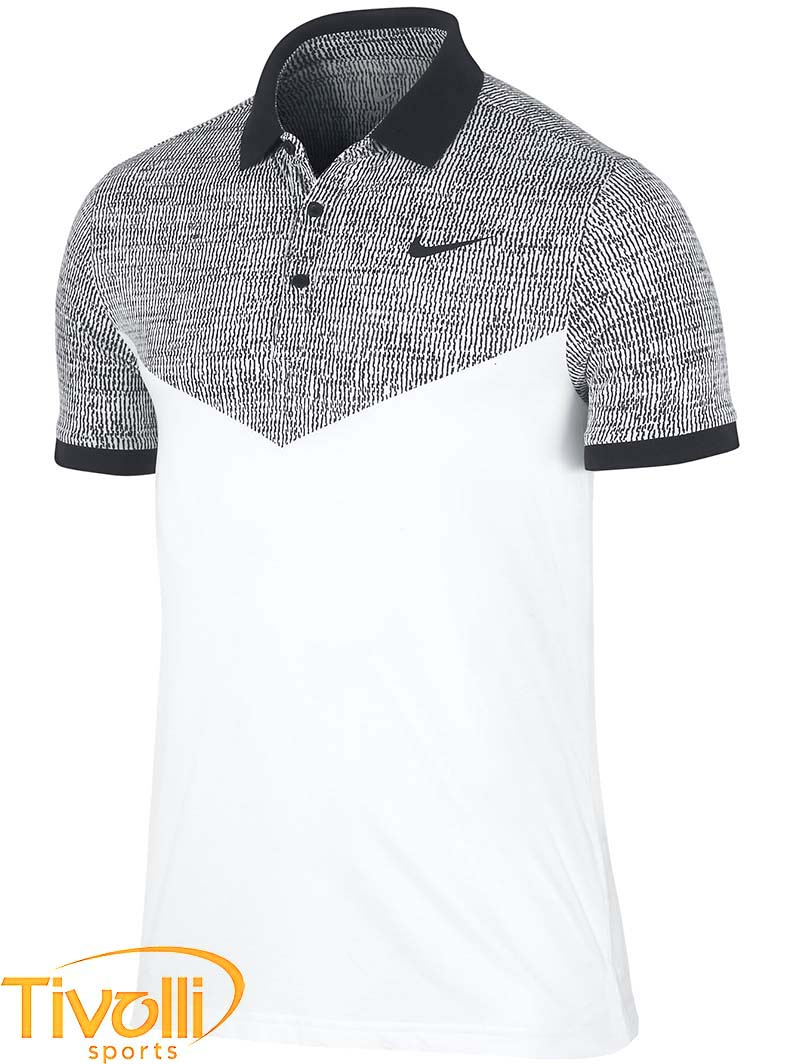 6560e28bc Polo Nike   Camisa Polo Nike Dri Fit Touch Branco e Preto 621051-100