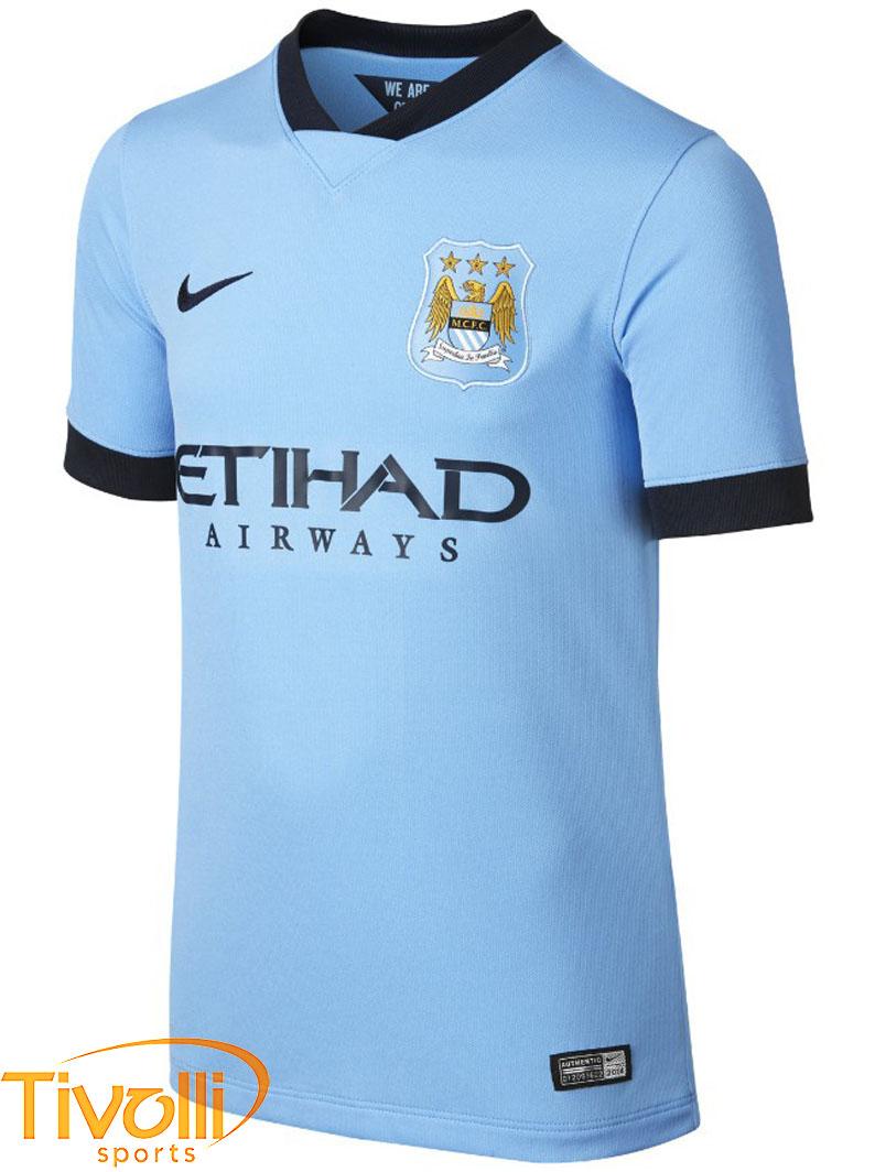 Camisa Nike Manchester City I Infantil 2014 2015   Azul - 611056-489   a59888e1256aa
