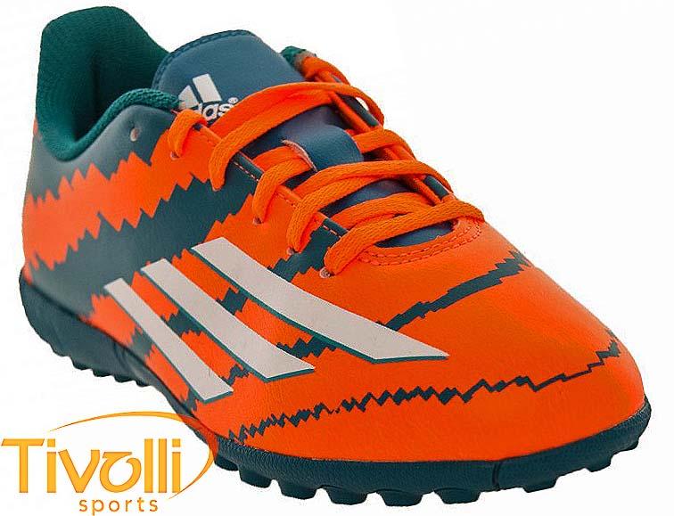 Chuteira Adidas Messi 10.4 TF Infantil   Society Laranja e Verde   ddcdf9074c03c