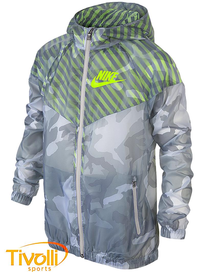 Jaqueta Nike Infantil Flight Camo Windrunner Kids cinza verde fluor  camuflada ce359a8447aab