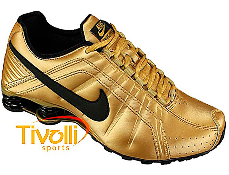 29815d9cce Tênis Nike   Shox Junior Ouro e Preto