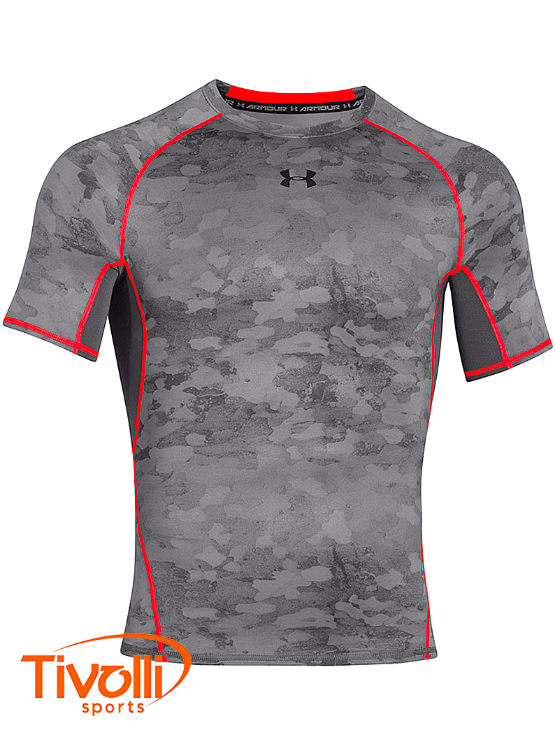 Camiseta Under Armour   HeatGear Printed Cinza e Laranja   adb04747e05c8