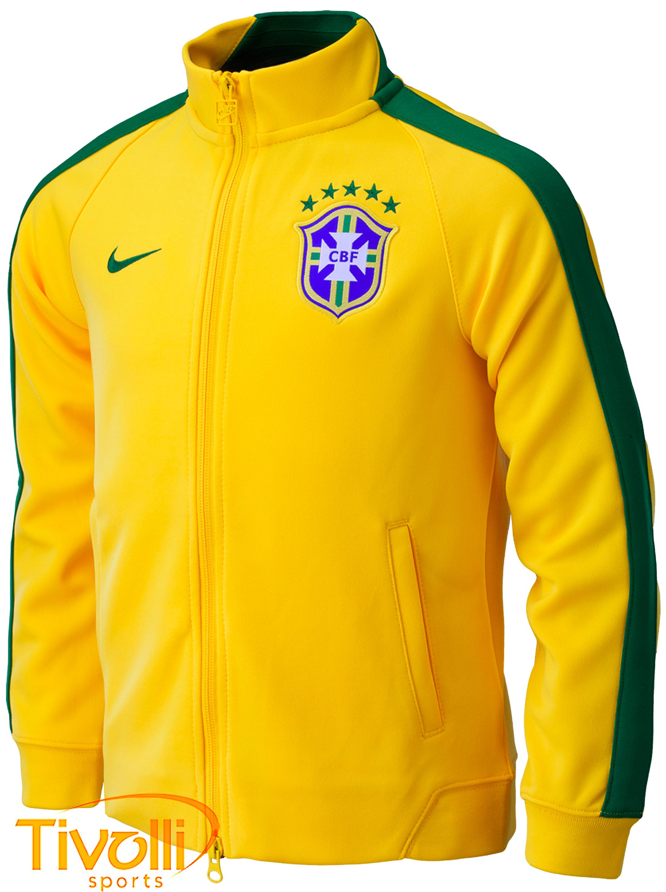 Jaqueta Brasil Nike CBF infantil   2014 Amarela e verde   b2f1488d6f292