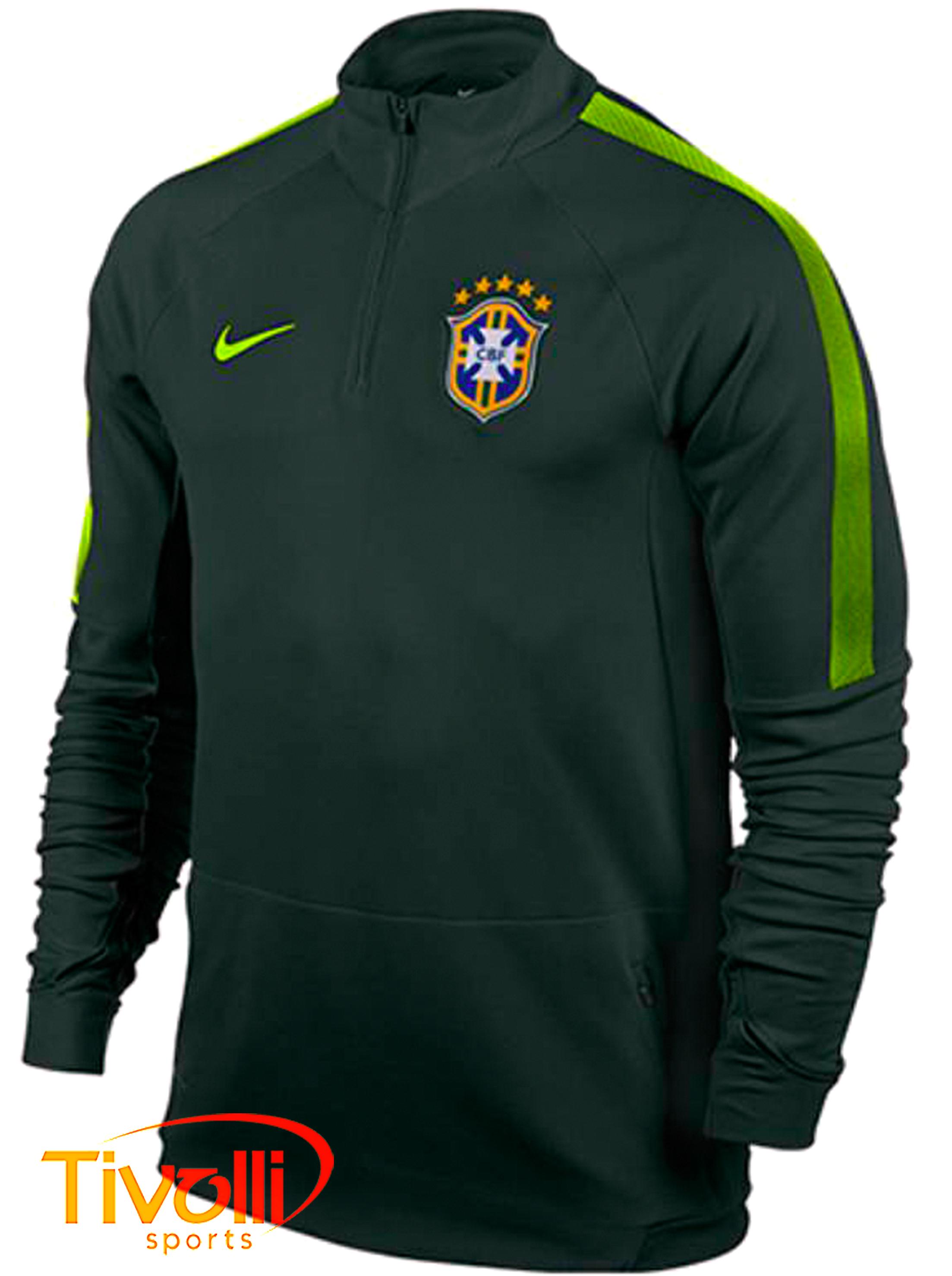 Blusa Nike CBF   Seleção Brasileira treino verde musgo   9da944101159b