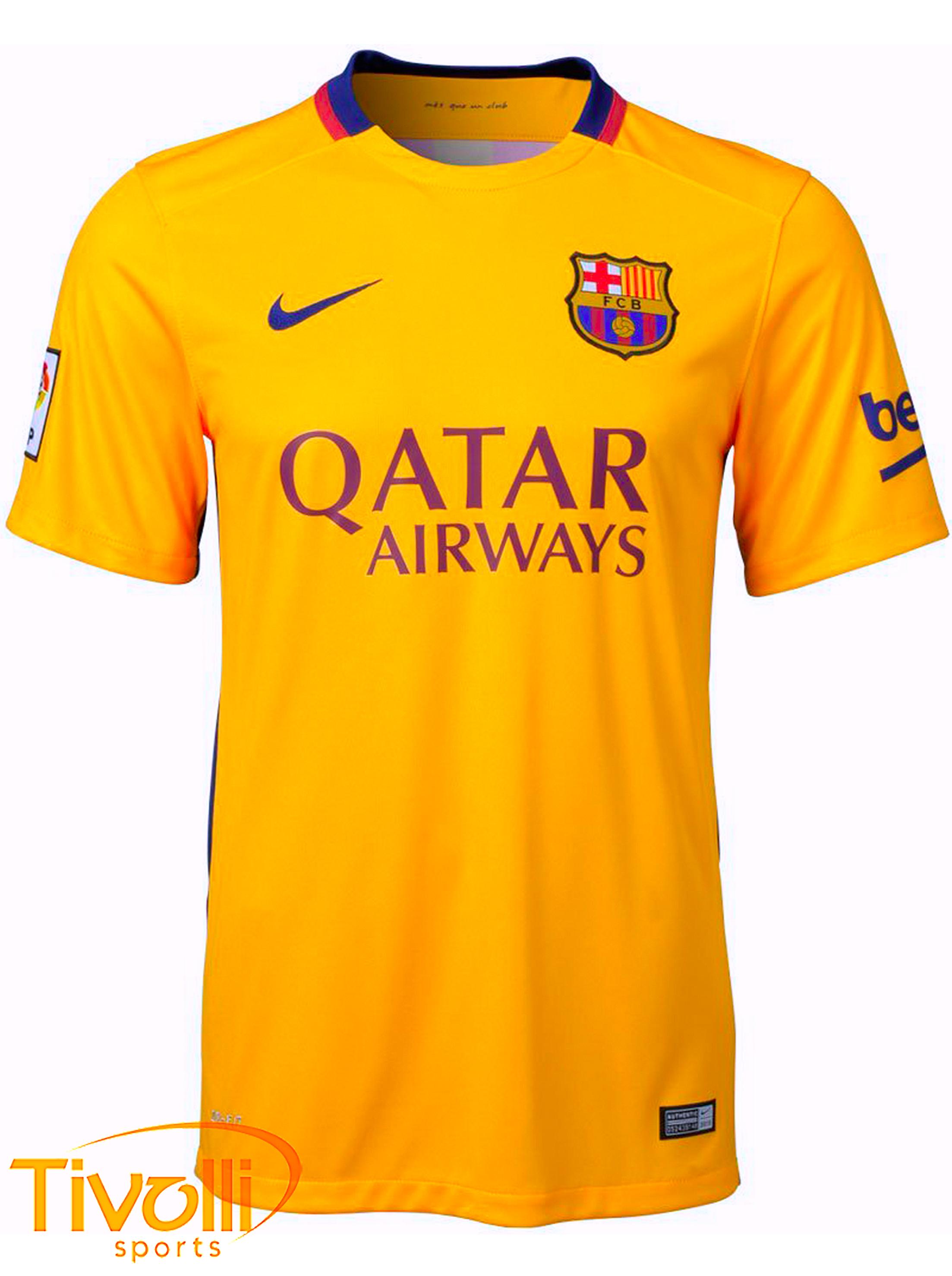 Black Friday - Camisa Infantil Barcelona II 2015   Amarela Nike   c4bd0552ad19b