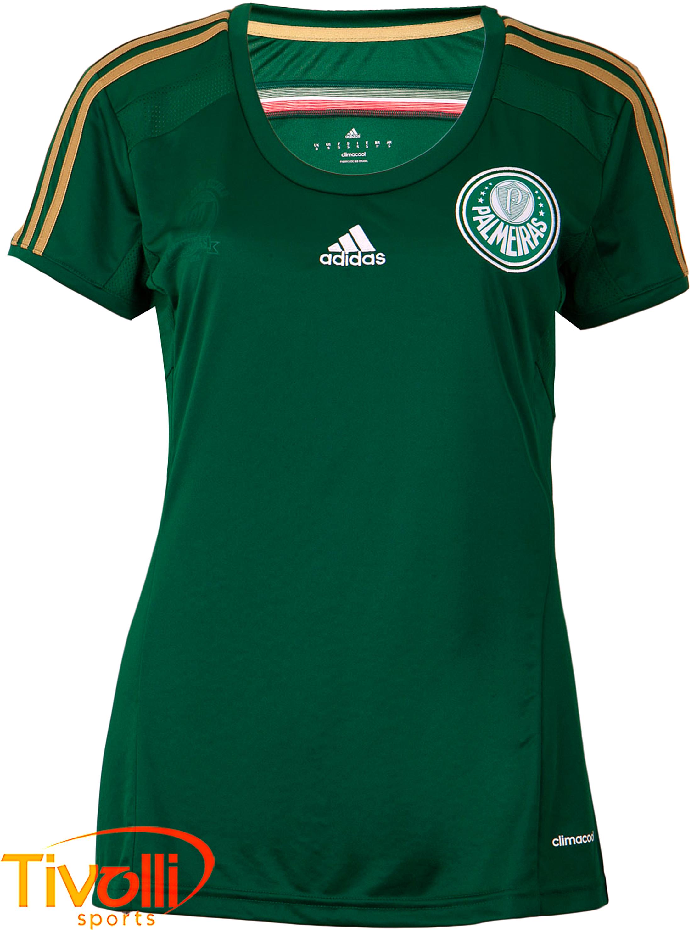 0ad0df6e3d223 Camisa Feminina Palmeiras I Adidas   Verde e dourada