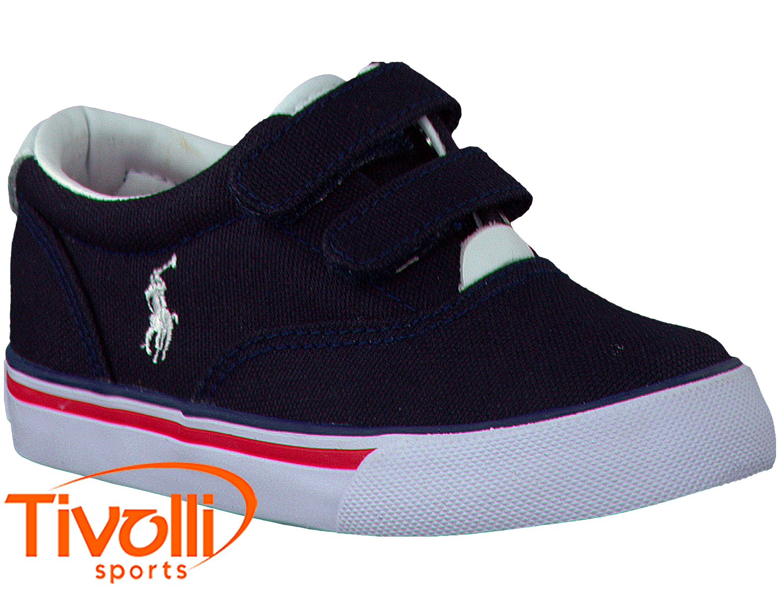 8e64c90a5e Tênis Polo Ralph Lauren infantil Vaughn II EZ marinho, branco e vermelho