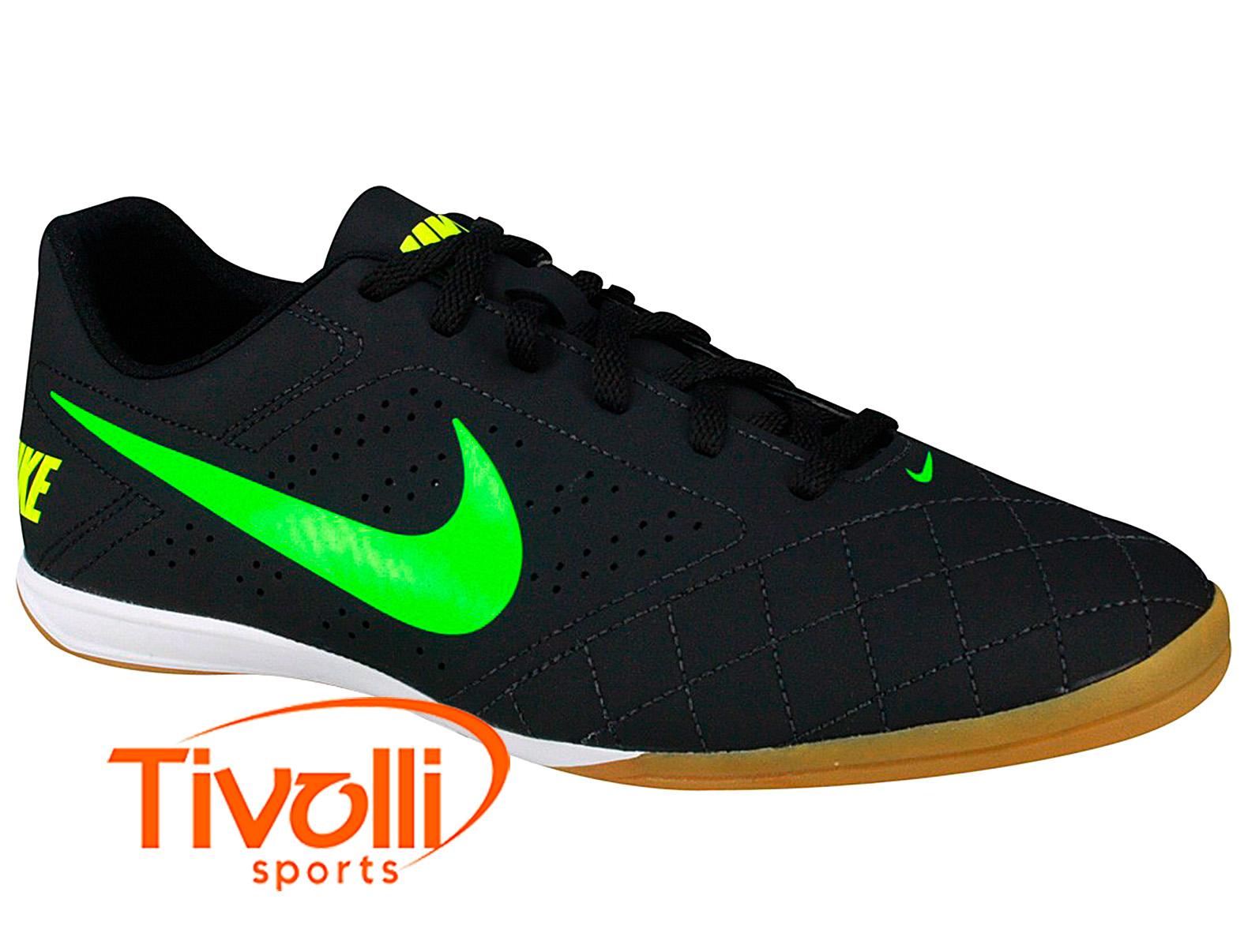 Chuteira Nike Indoor Beco 2   Futsal preta e verde   14b6eaff8d40f