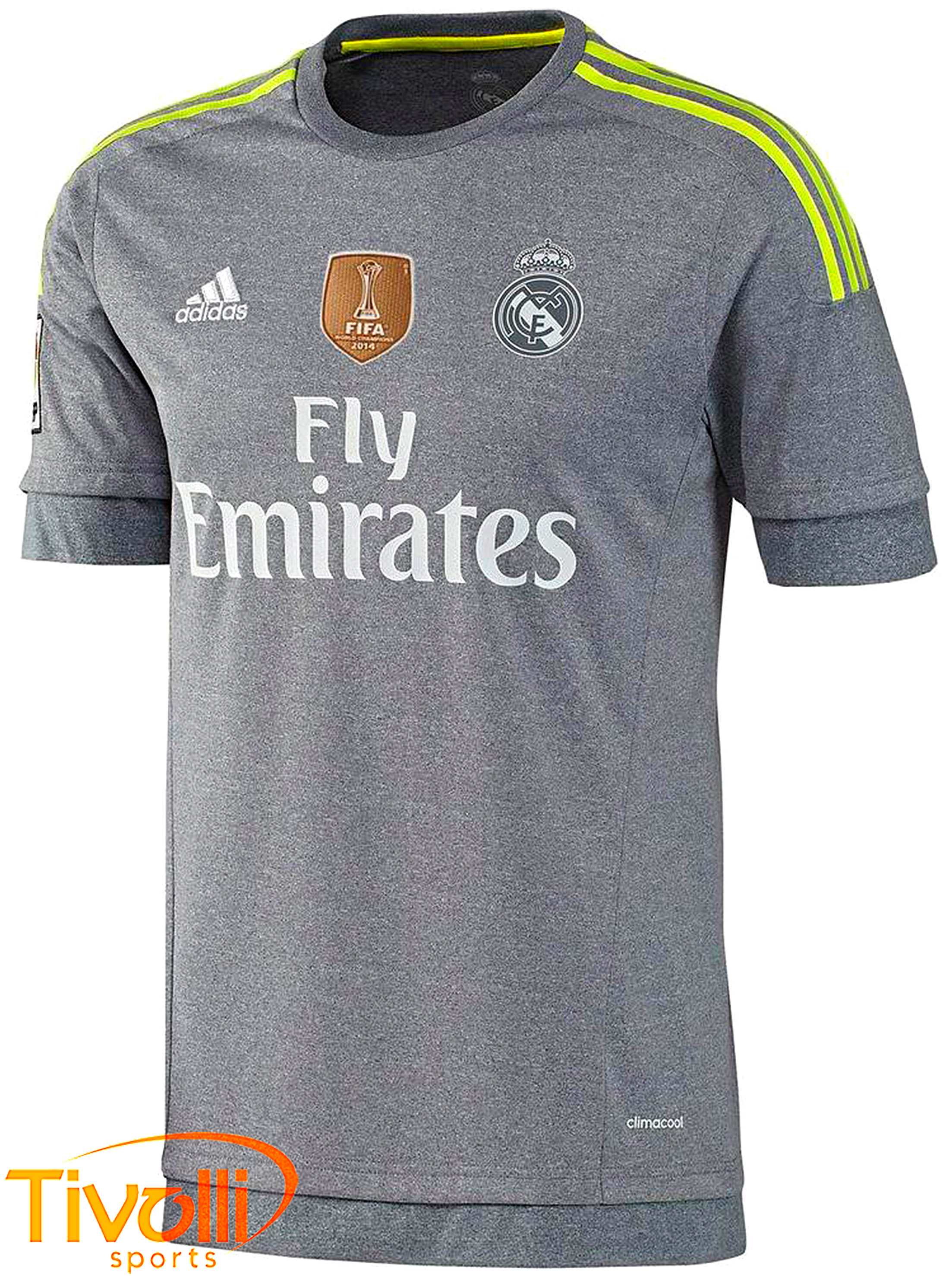 Camisa infantil Real Madrid II Boys Adidas 2015 2016 cinza mescla e verde  limão 5627e2d282ecb
