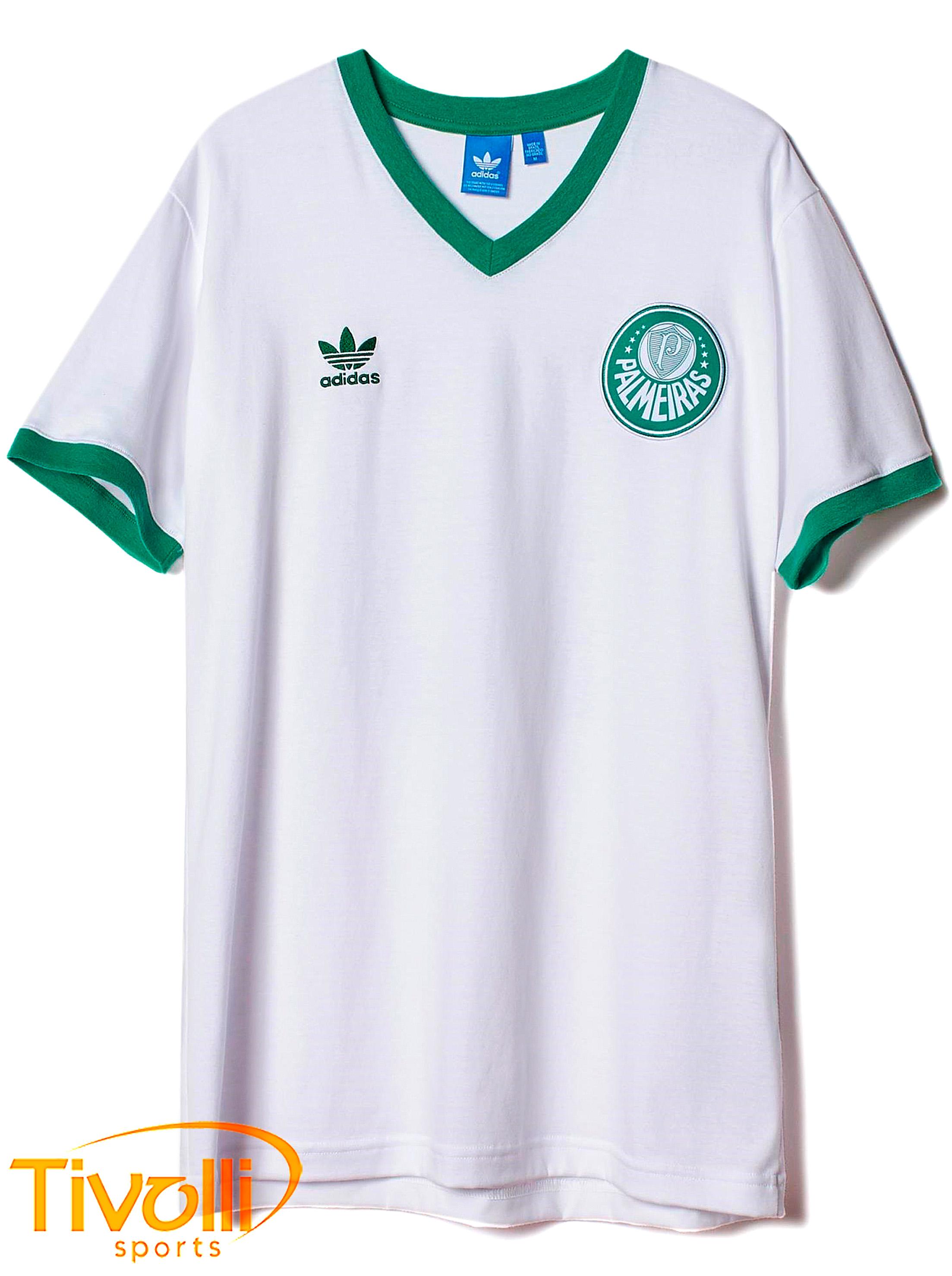 Camisa Palmeiras retrô casual Adidas   branca e verde   3bfd1f0ad26c6