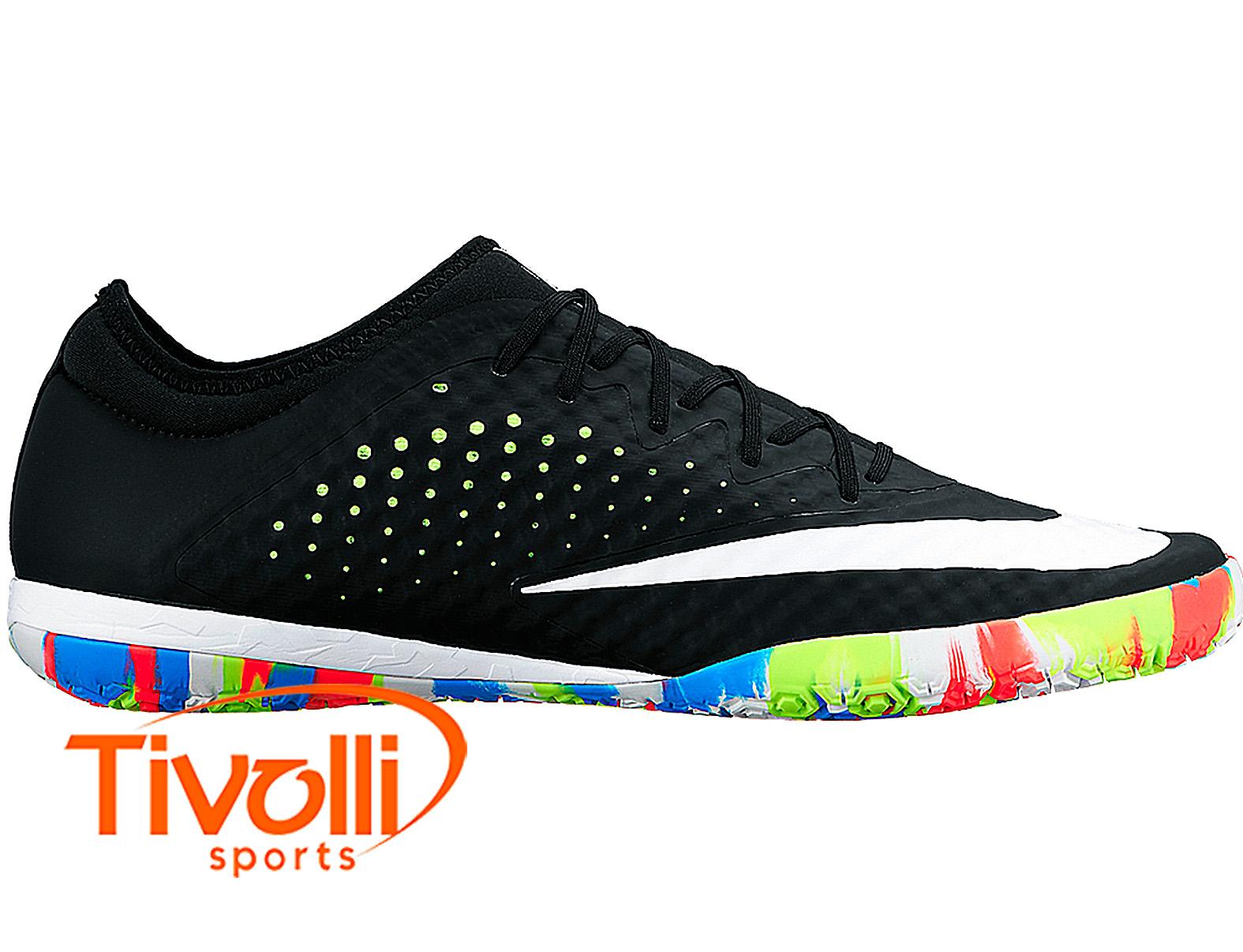 46d0d45a4f Chuteira Nike MercurialX Finale Street futsal salão preta e branca solado  colorido