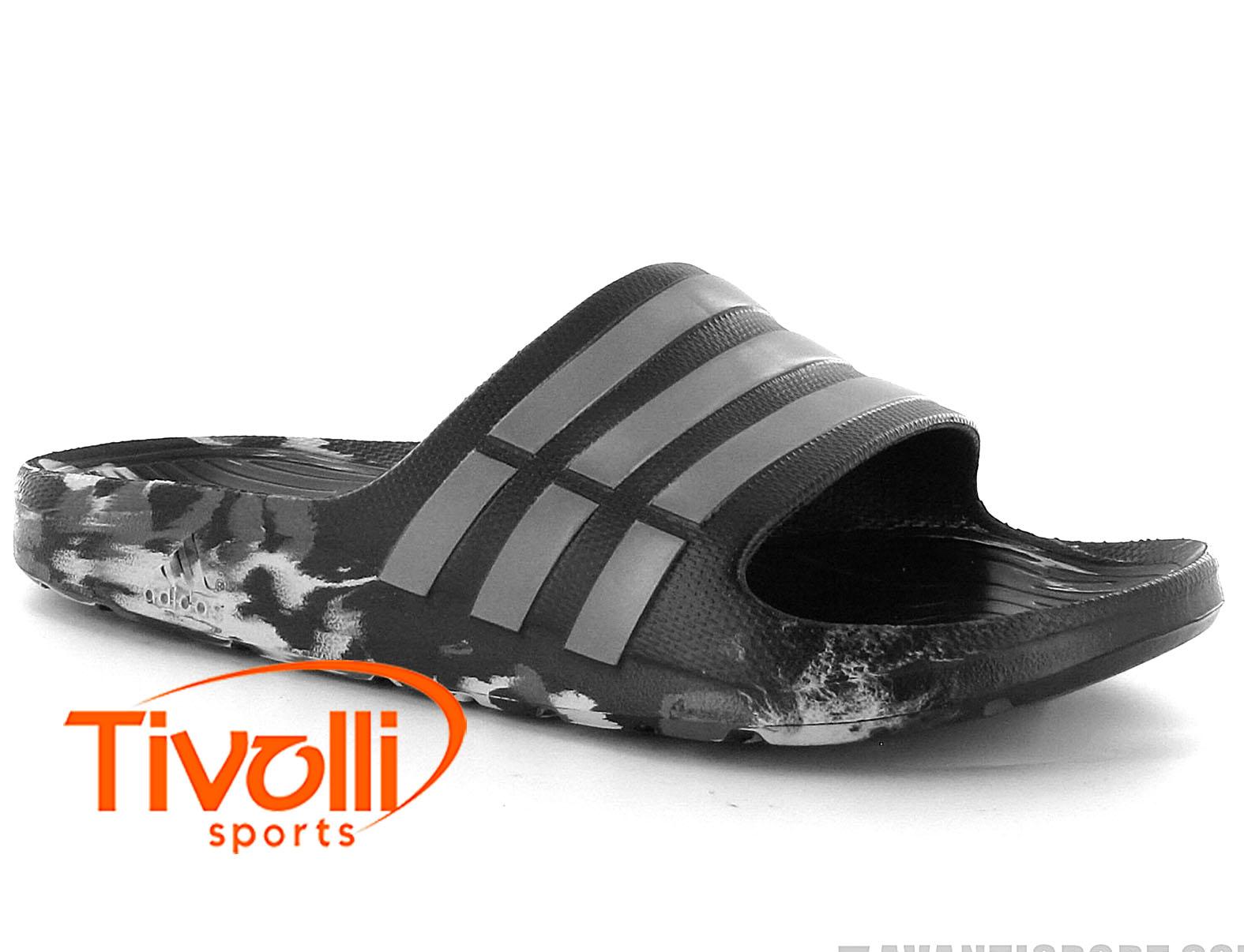 fdeabe54c75 Chinelo Adidas Duramo Slide Marbled   masculino preto e cinza