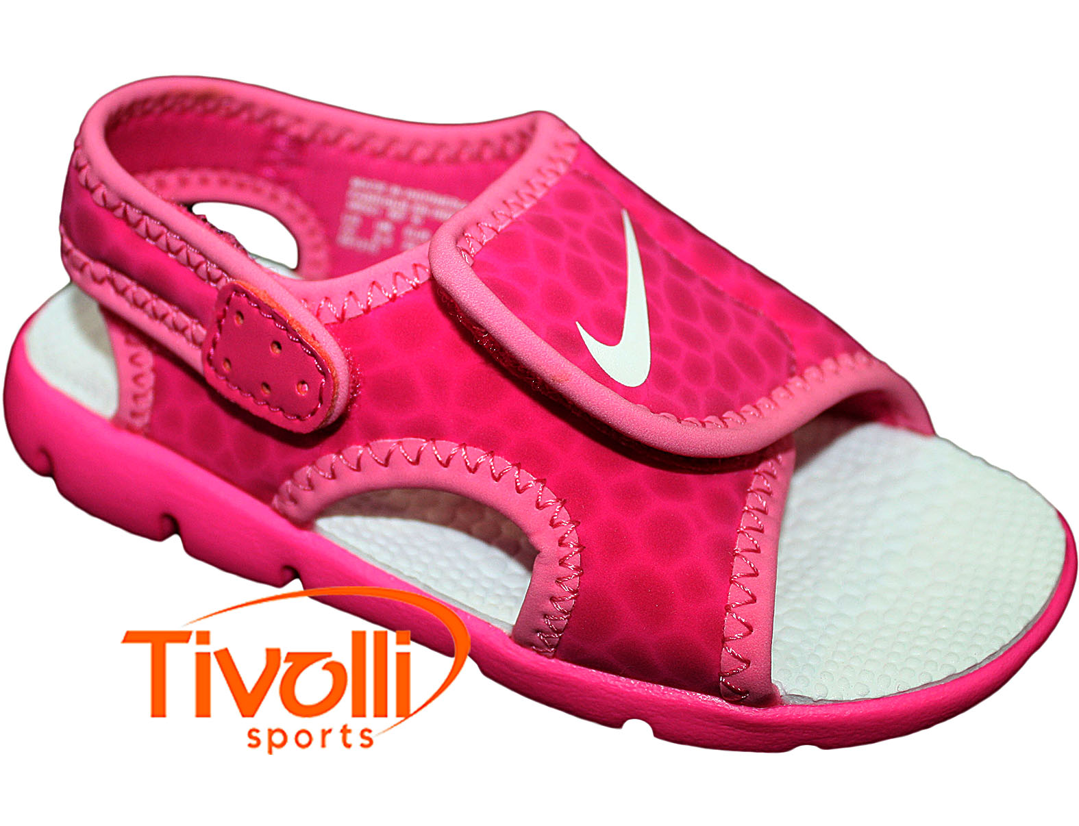 Sandália Nike Sunray Adjust 4 (PS GS) 27 ao 33 infantil rosa pink e branca 2615b9833638f