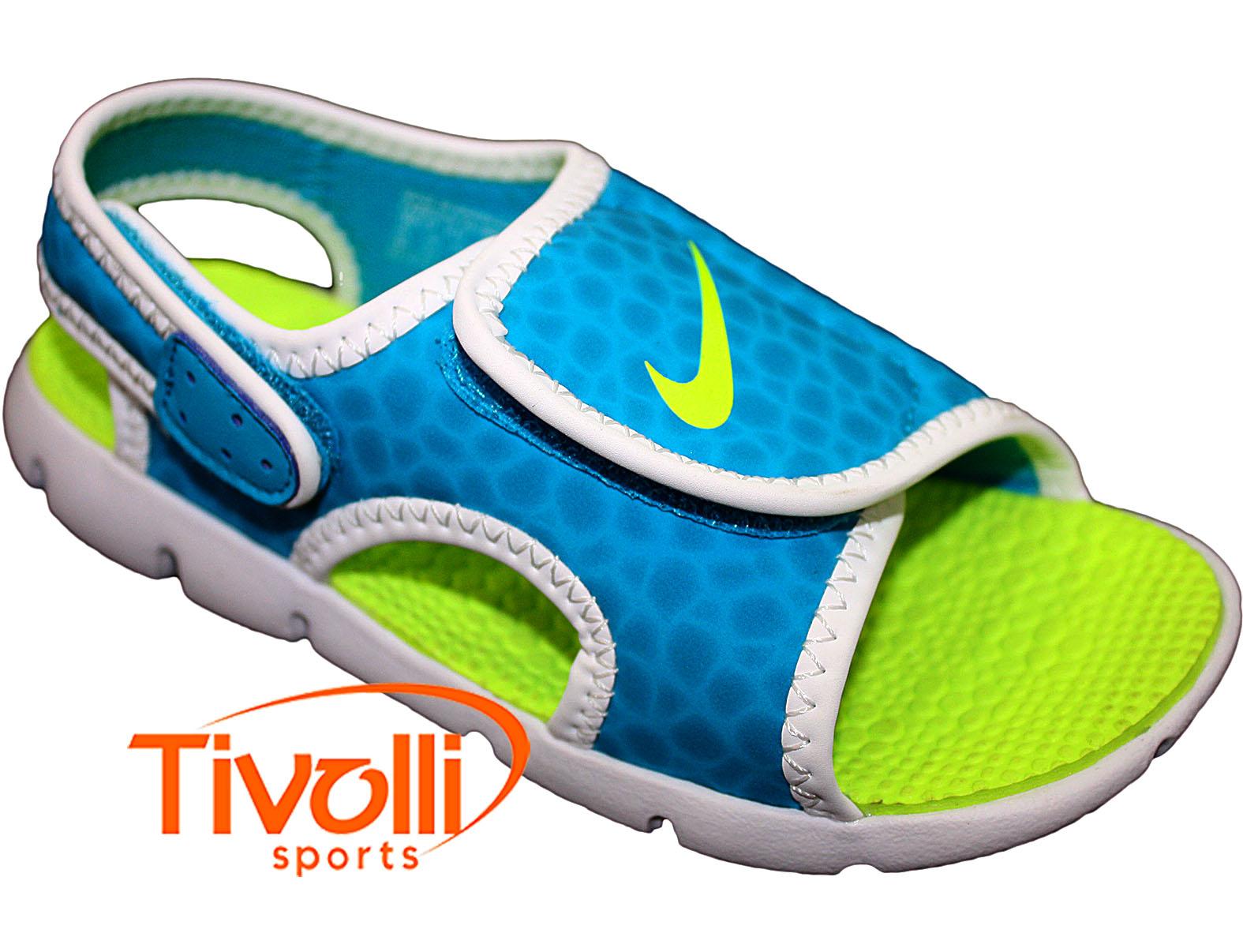 f9b5bb8c1 Sandália Nike Sunray Adjust 4 (GS/PS) Infantil 27 ao 33,5 Azul, Limão e  Branco
