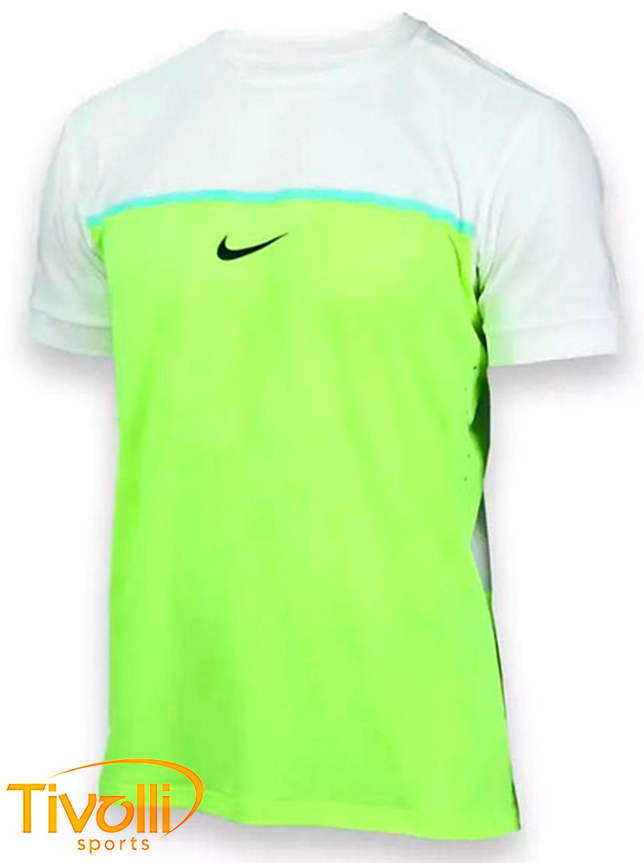 bef8502d6c Camiseta Nike Challenger Premier Rafa Crew masculina verde limão e branca - Rafael  Nadal