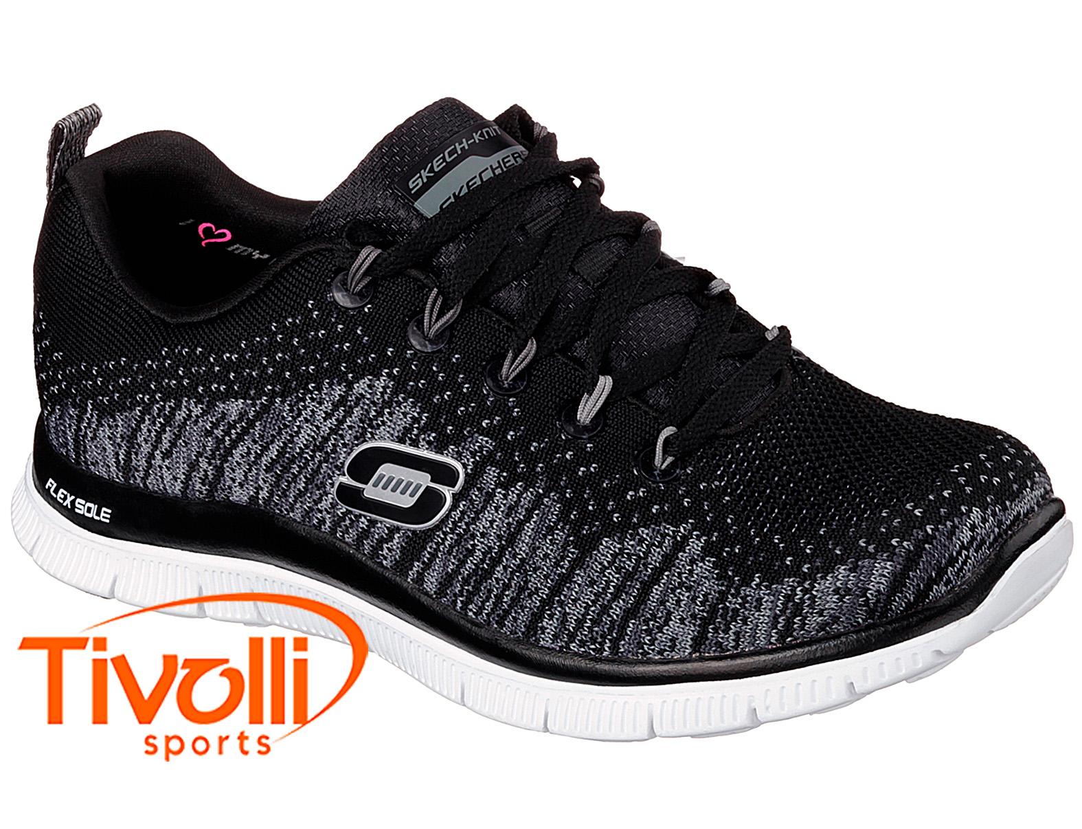 5796d31e091 Tênis Skechers Flex Appeal   feminino preto e branco