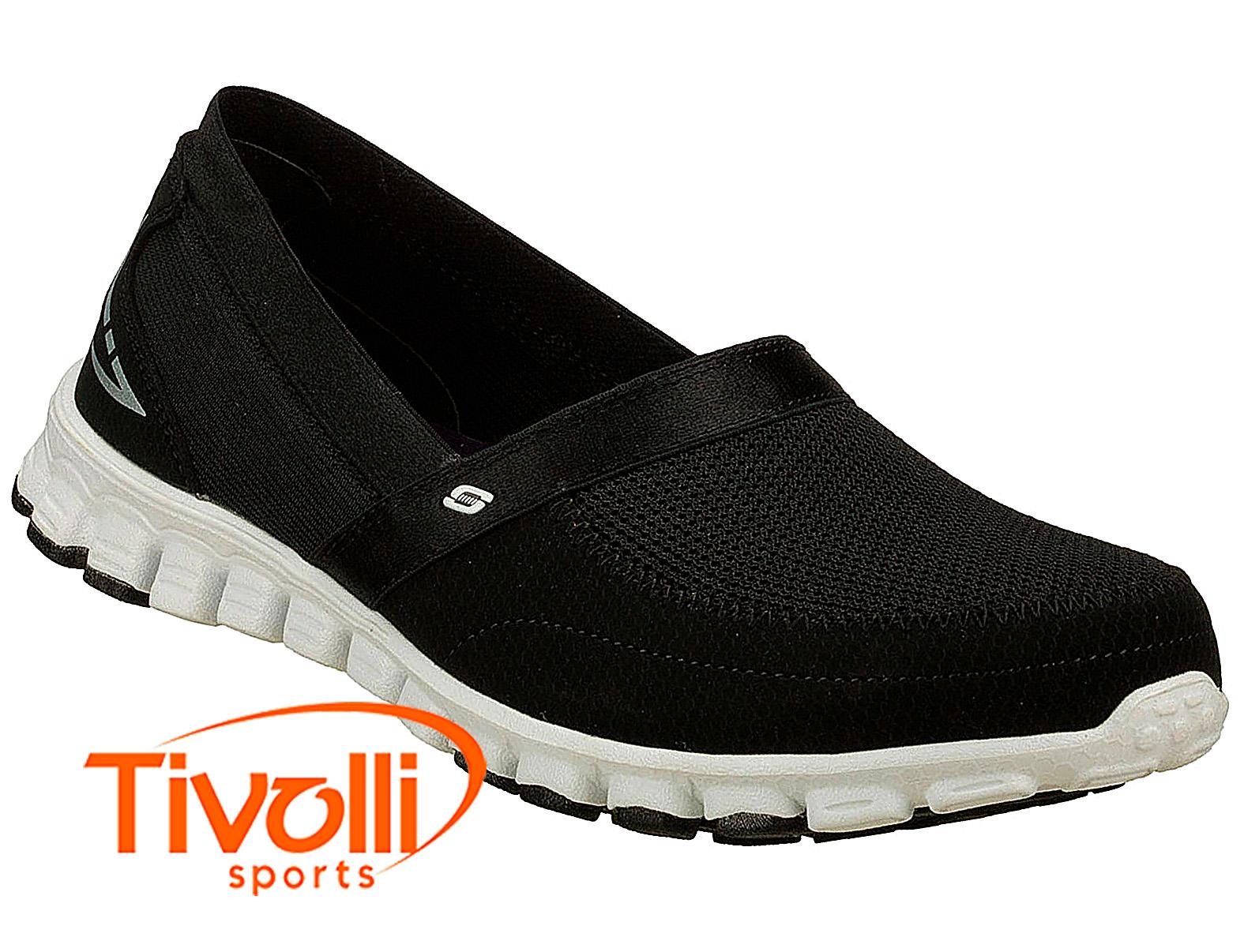 0ee3213aa7d Tênis sapatilha Skechers Ez Flex Take it Easy Feminino preto e branco