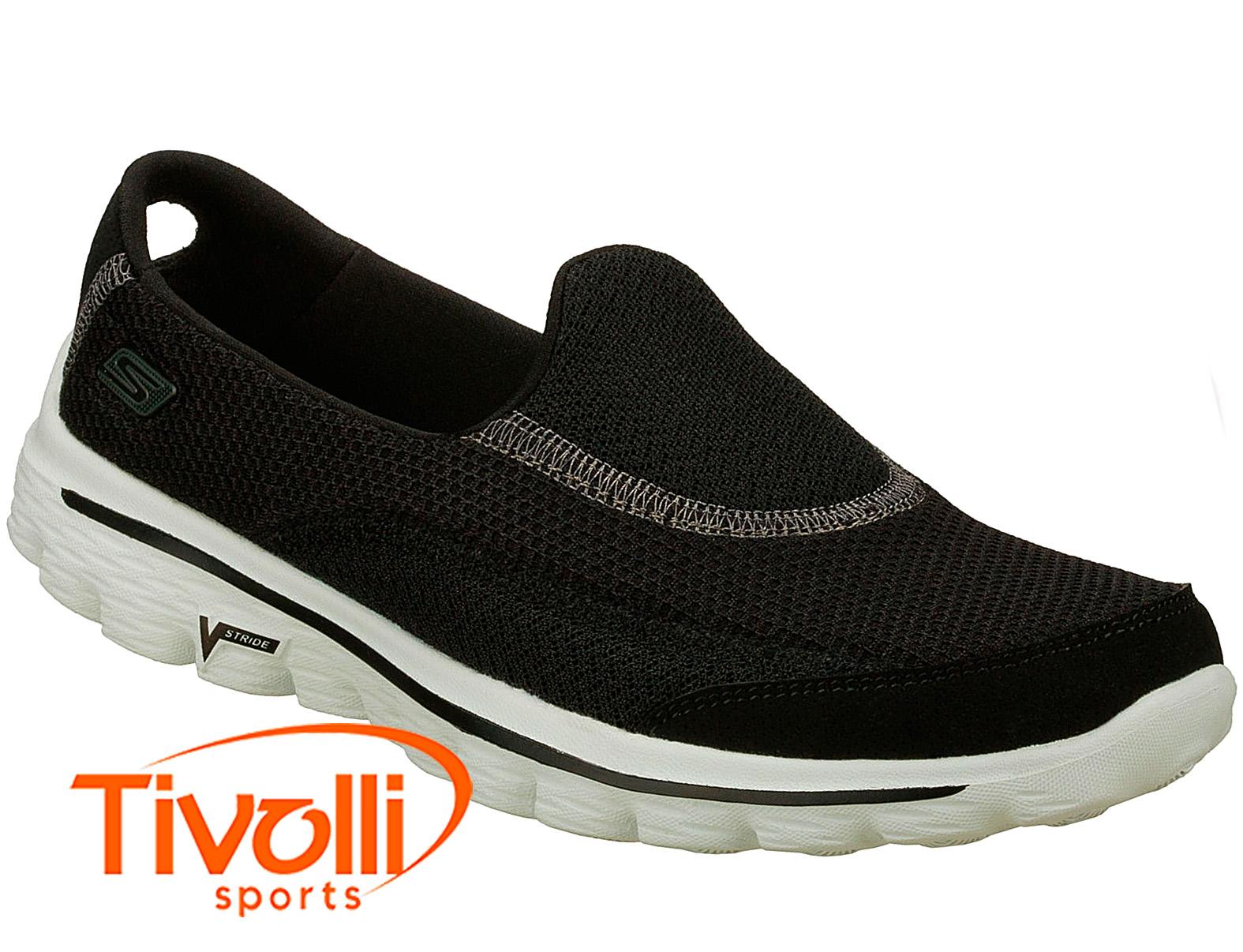 c99d090a80 Tenis sapatilha Skechers Go Walk 2   feminino preto e branco