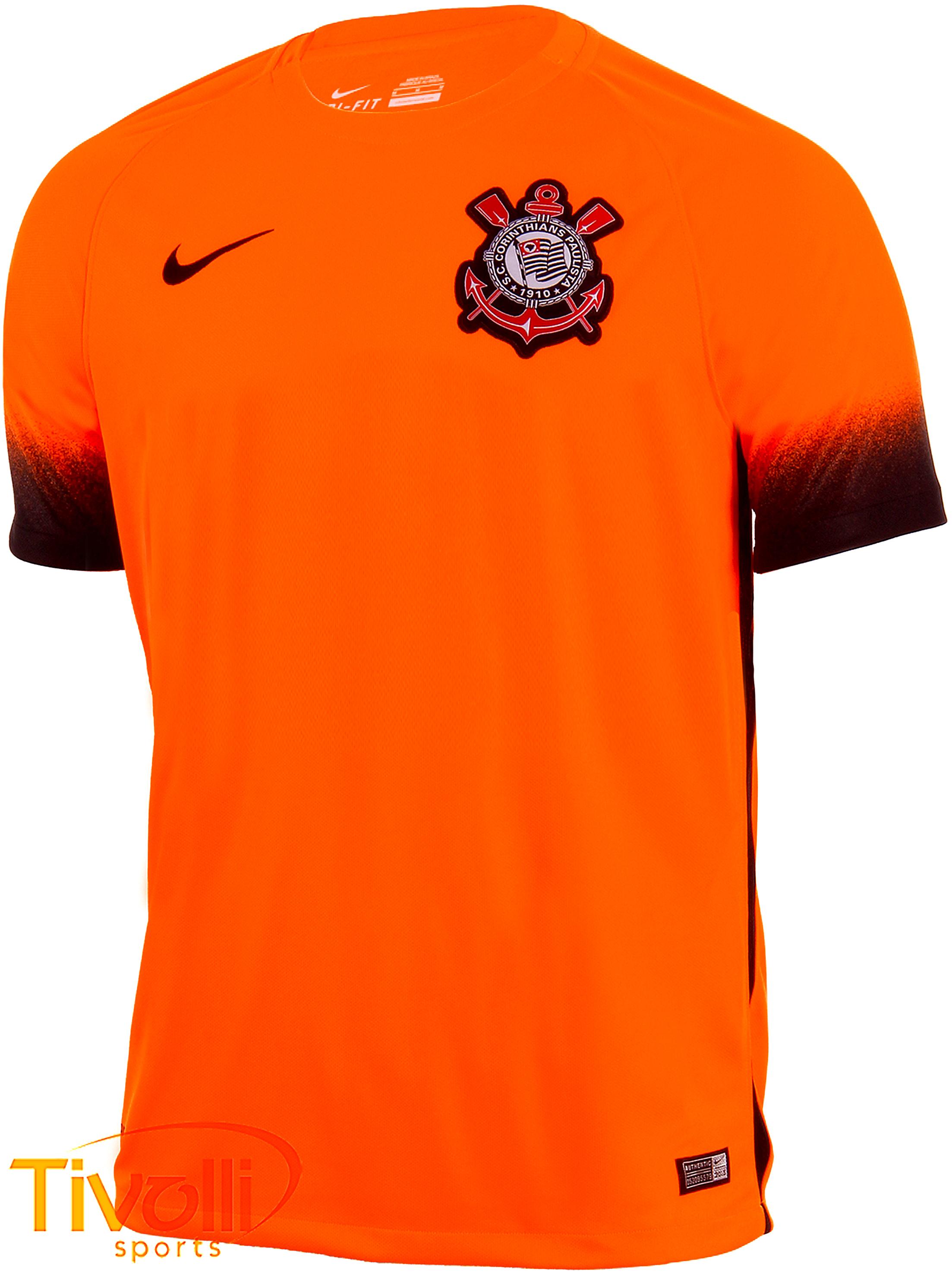69e79fe886ccf Black Friday - Camisa Corinthians III Infantil torcedor 2015 2016 Nike  infantil laranja e preta