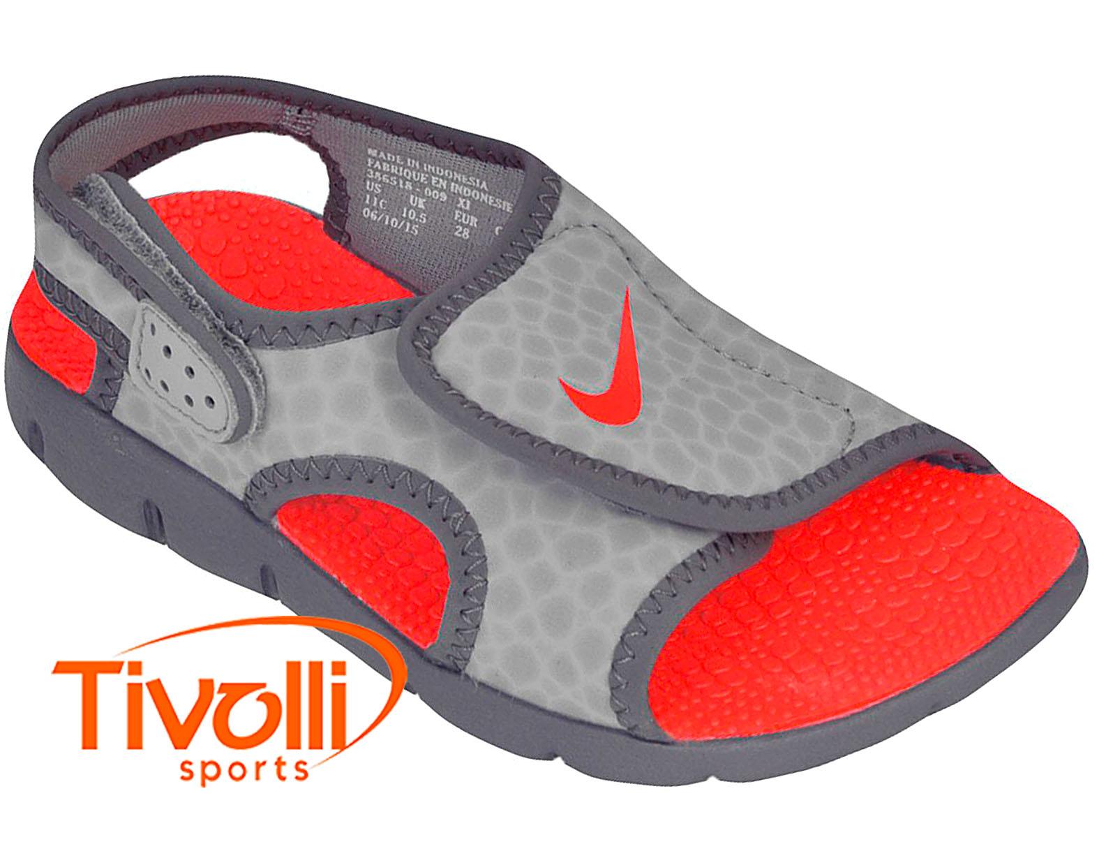 1f738ddc1 Sandália Nike Sunray Adjust 4 Infantil (GS/PS) 27 ao 33,5 Cinza e Laranja