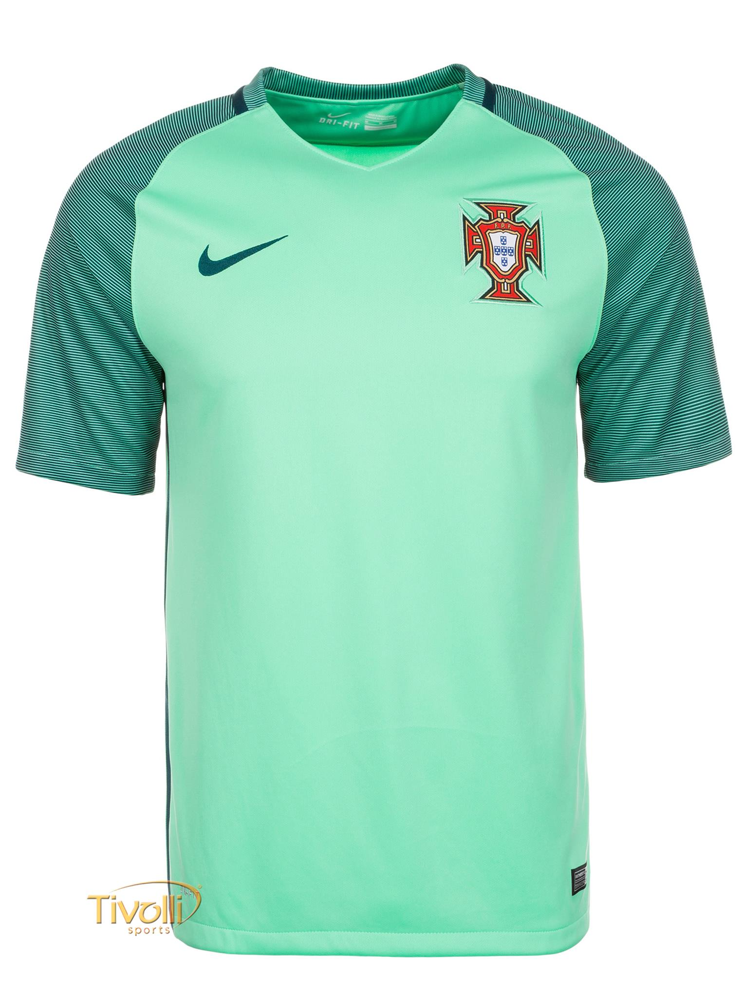 Camisa Nike Portugal II Away Masculina Euro 2016   Verde Água   0b7a8dbb69ed4