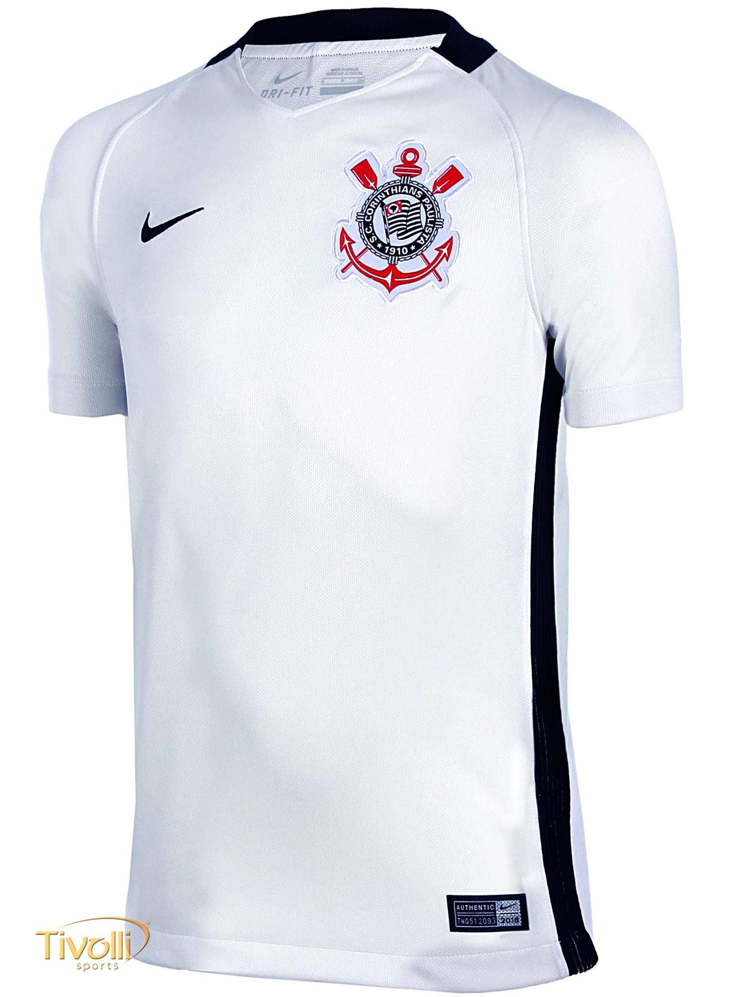 Camisa Nike Corinthians I Home Infantil Torcedor 2016 2017 Branca e Preta 2de27e840a986