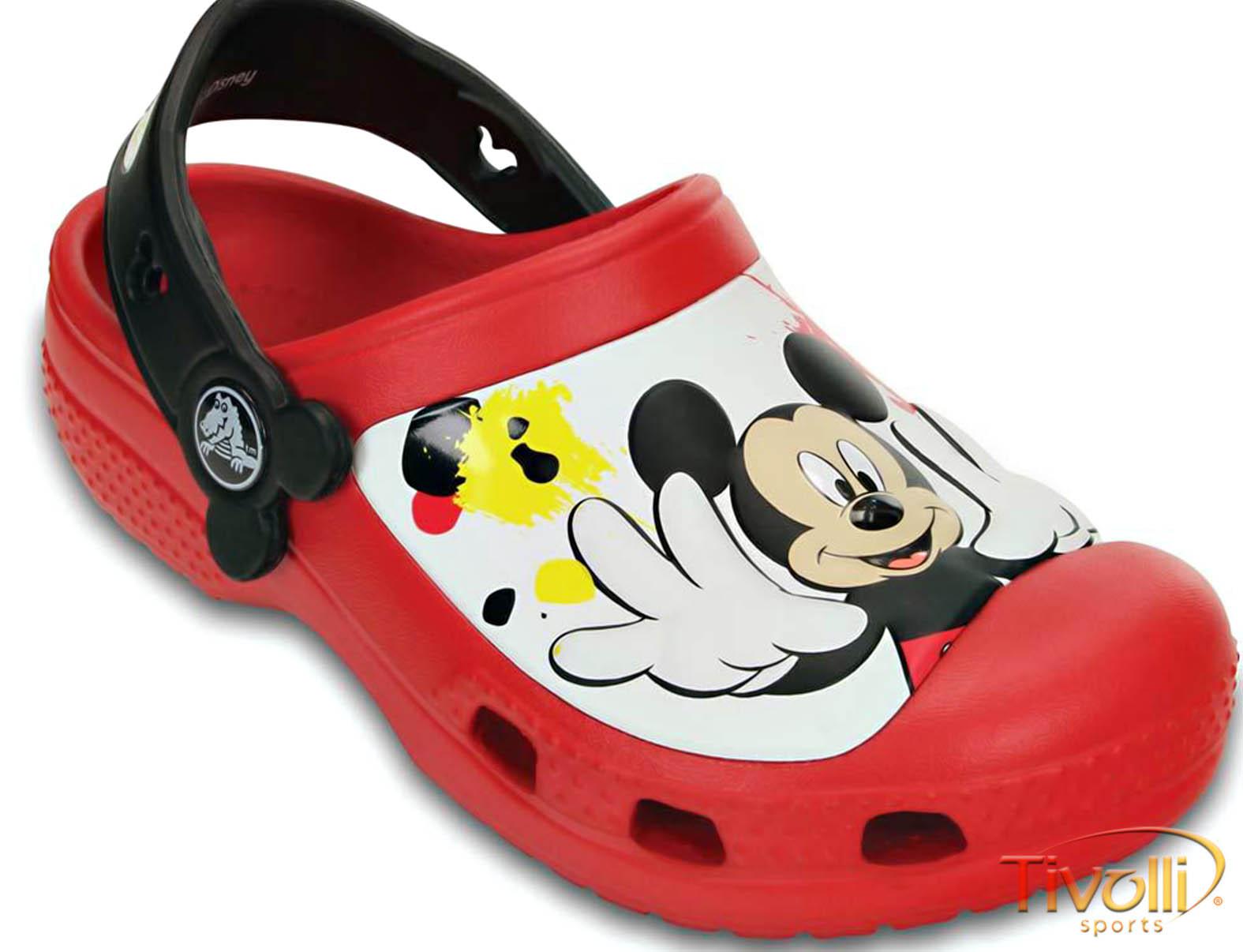 Sandália Crocs Mickey Mouse CCM Infantil   Vermelha, Branca e Preta   8cc46813a9
