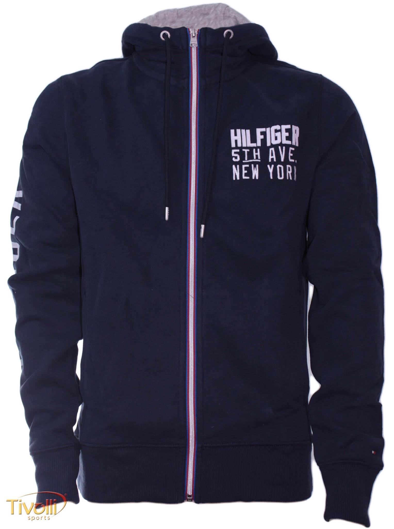 fcd572bd87 Blusa de Moletom Tommy Hilfiger. Masculina com ziper e capuz azul marinho
