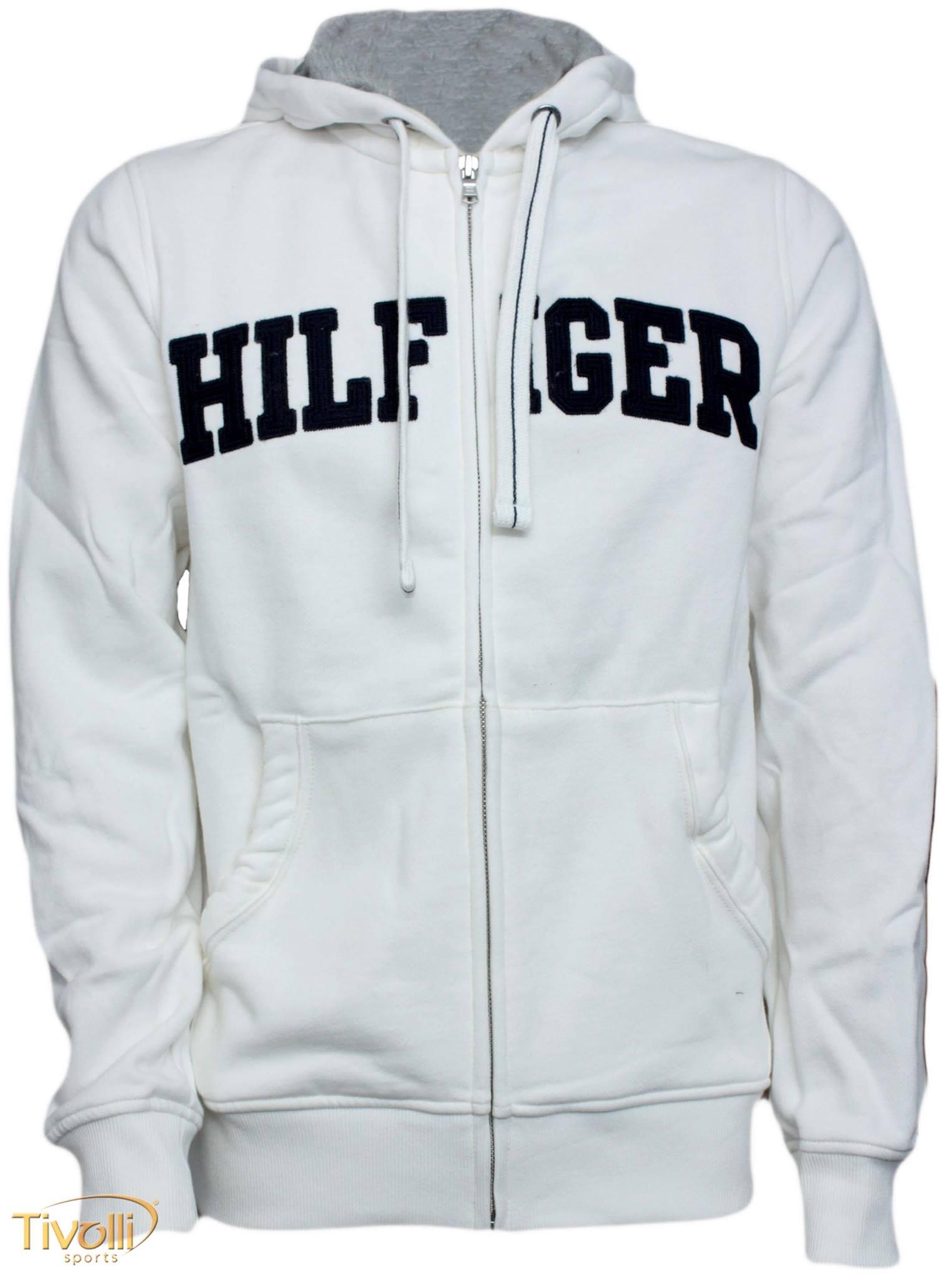 5f6386b1bf Blusa de Moletom Tommy Hilfiger   Masculina branca com ziper