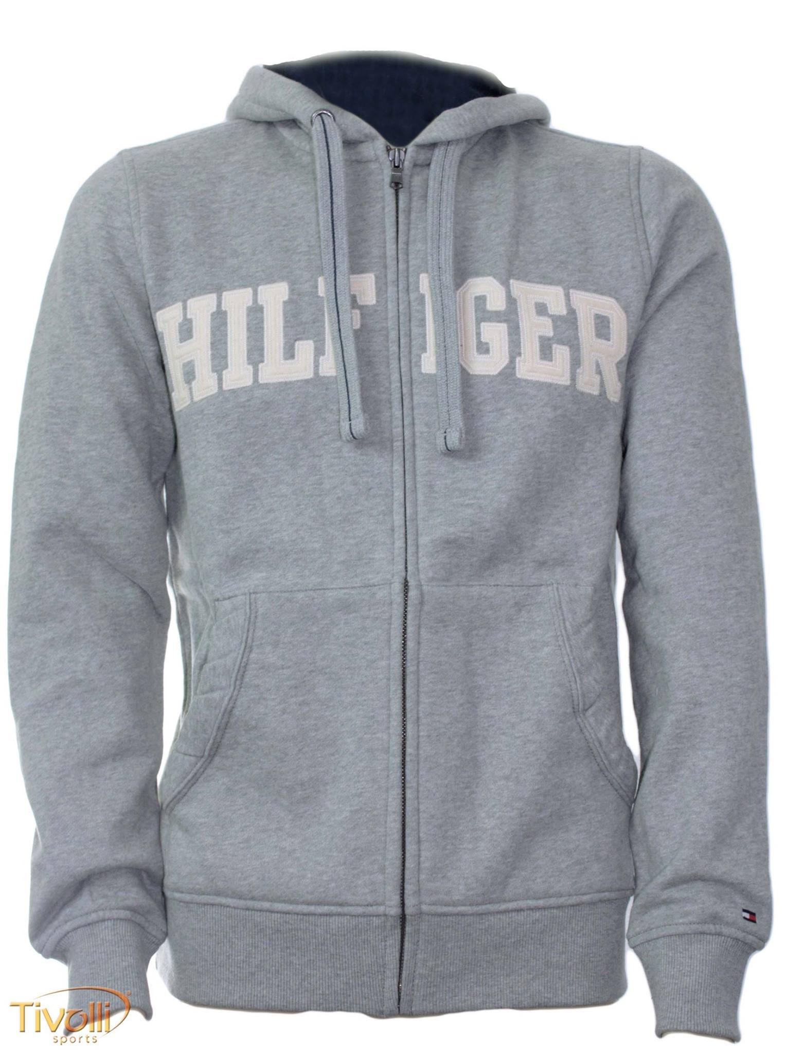 Blusa de Moletom Tommy Hilfiger   Masculina cinza mescla com ziper e ... f2813e6125792