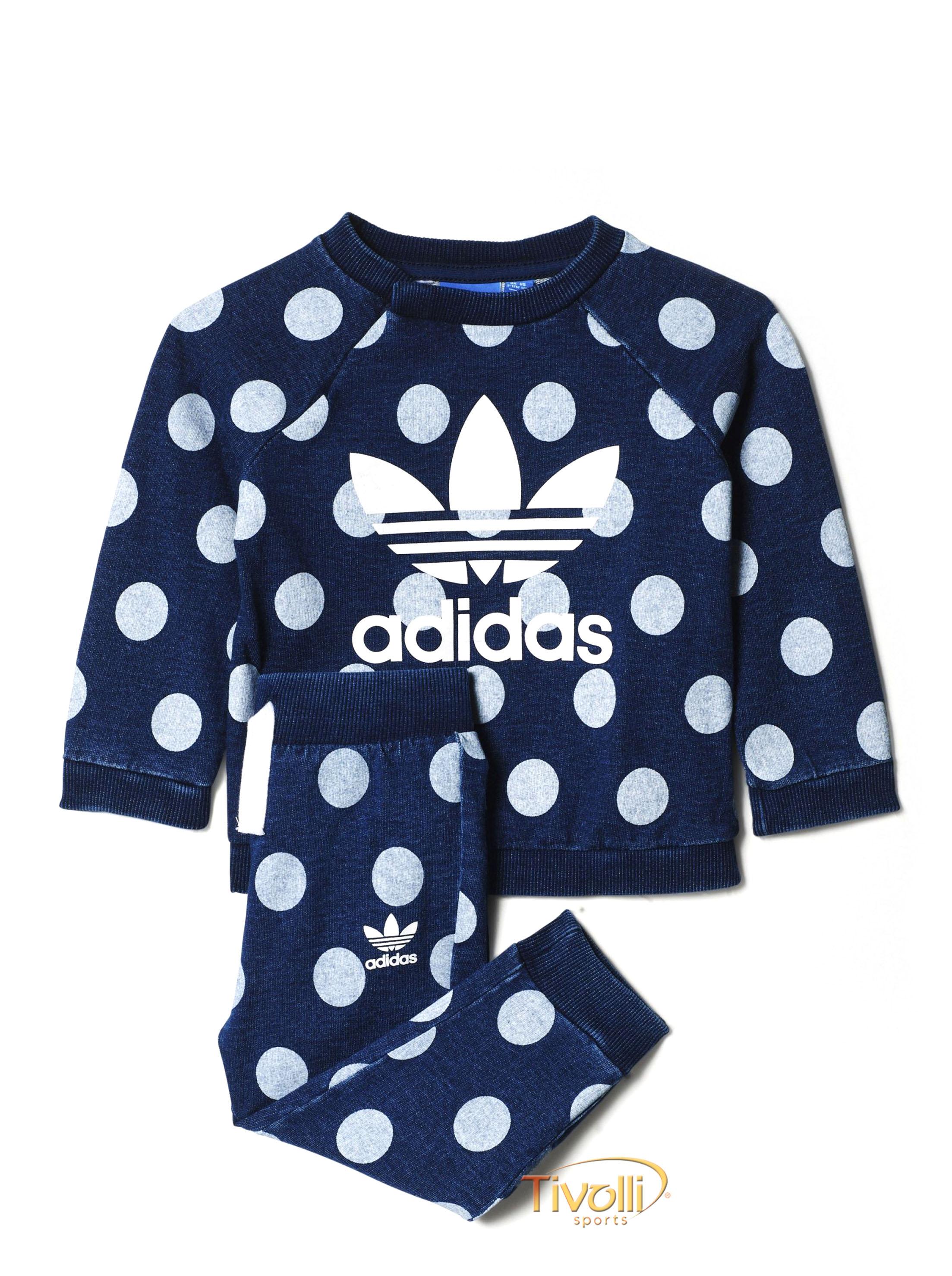 cfbe75c9fab Agasalho Infantil Adidas Originals I Denim Dots Azul Jeans e Branco Estampa  de Poá