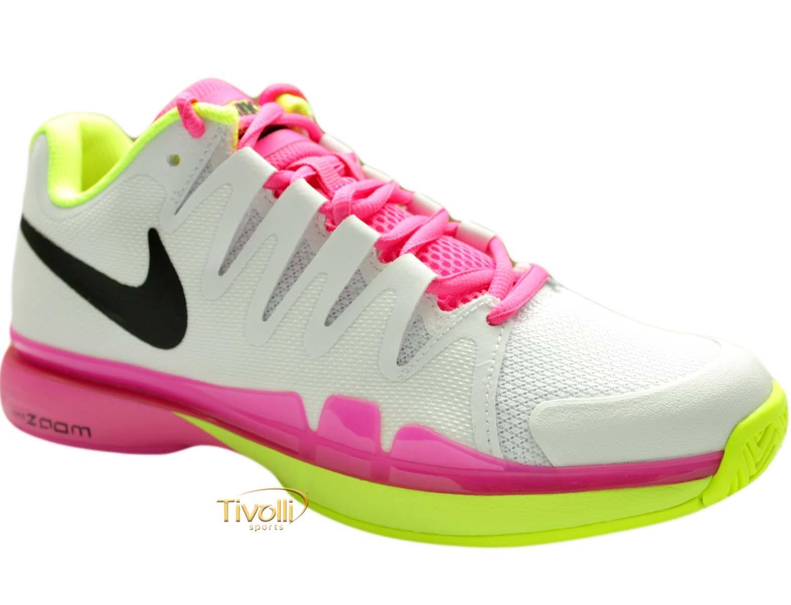Tênis Nike Zoom Vapor 9.5 Tour   feminino branco rosa e amarelo   ba1a035af3fed