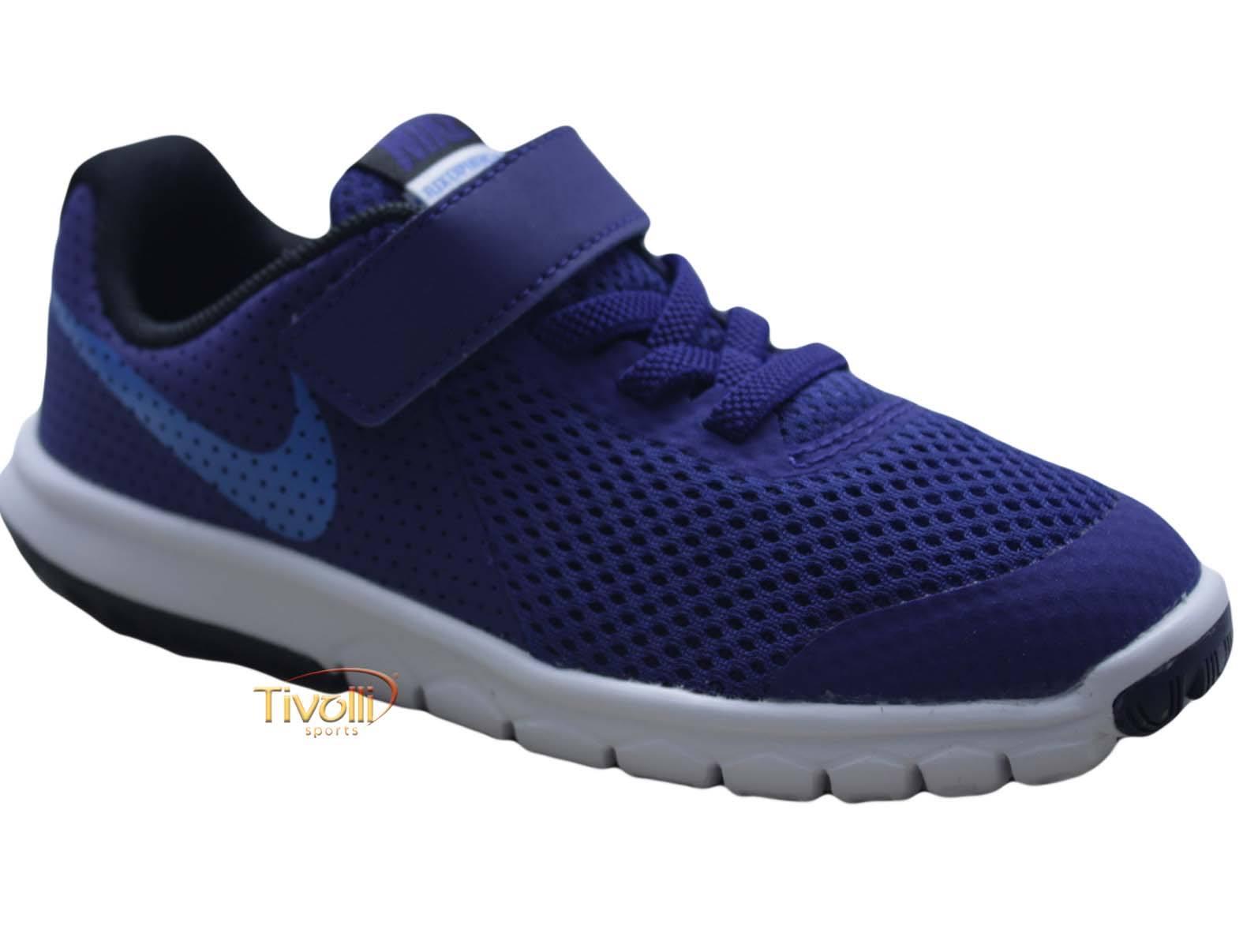 Tênis infantil Nike Flex Experience 5 (TDV)   Azul e Branco 20 ao 26   a8665a18e60dc