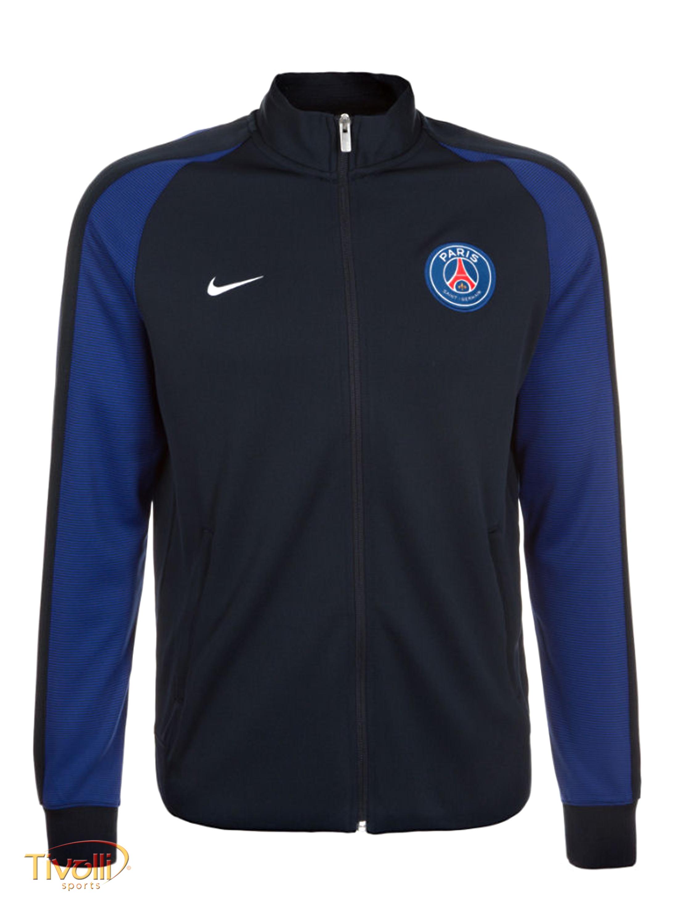 5282e92098 Jaqueta Paris Saint-Germain Authentic N98 Nike 2016 2017 PSG Masculina  Preta e Azul Marinho