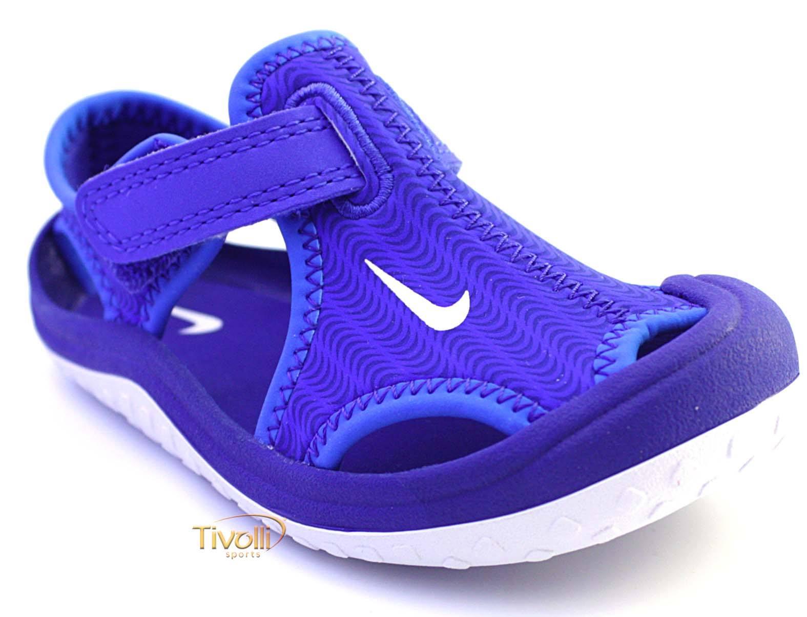 364465841 Sandália infantil Nike Sunray Protect (TDV) Papete Azul - Tamanhos 17,5 ao  26