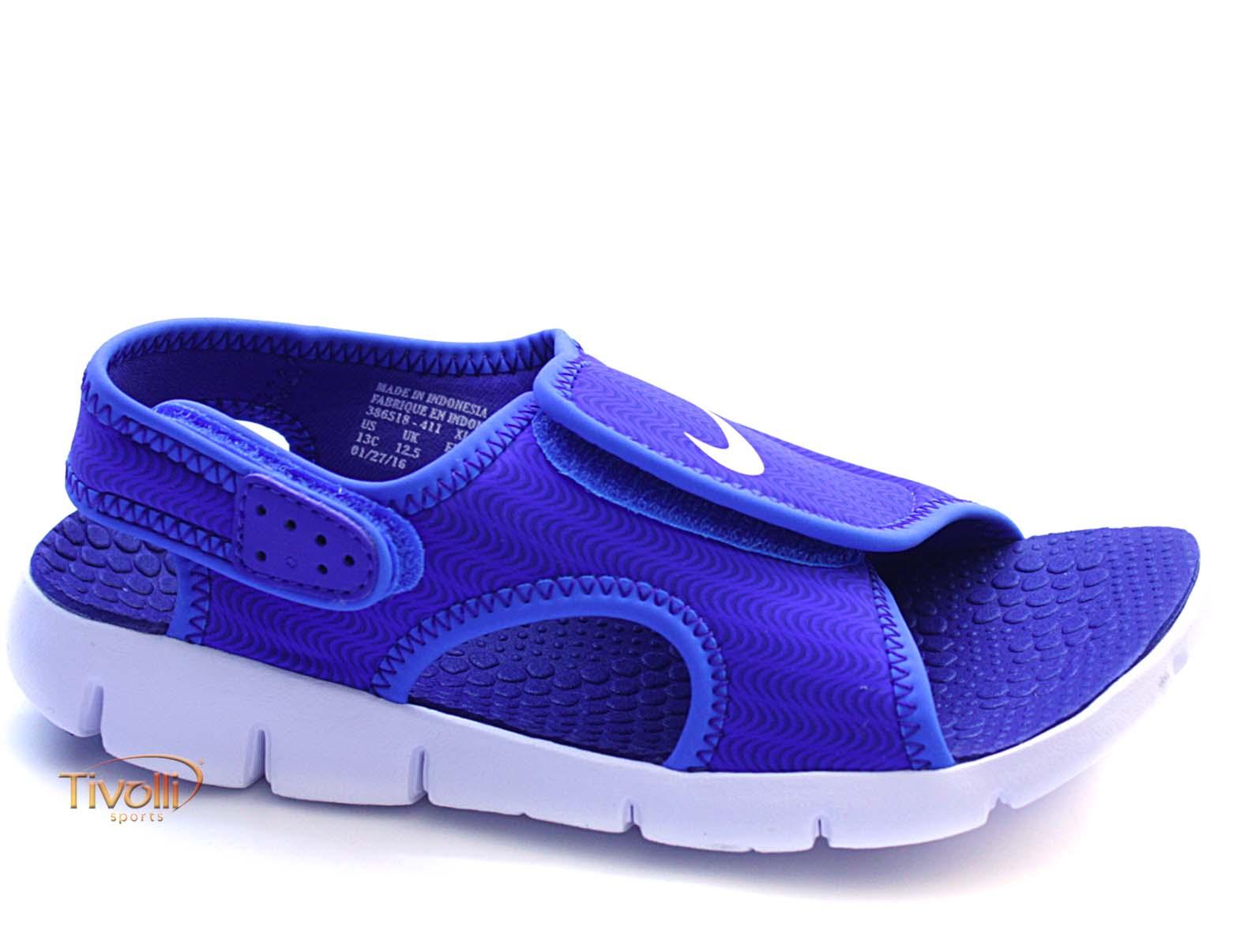 Sandália Nike Sunray Adjust 4 (TD) Infantil Papete Azul e Branca - Tamanho  17 ao 26 f3f79168e92ef