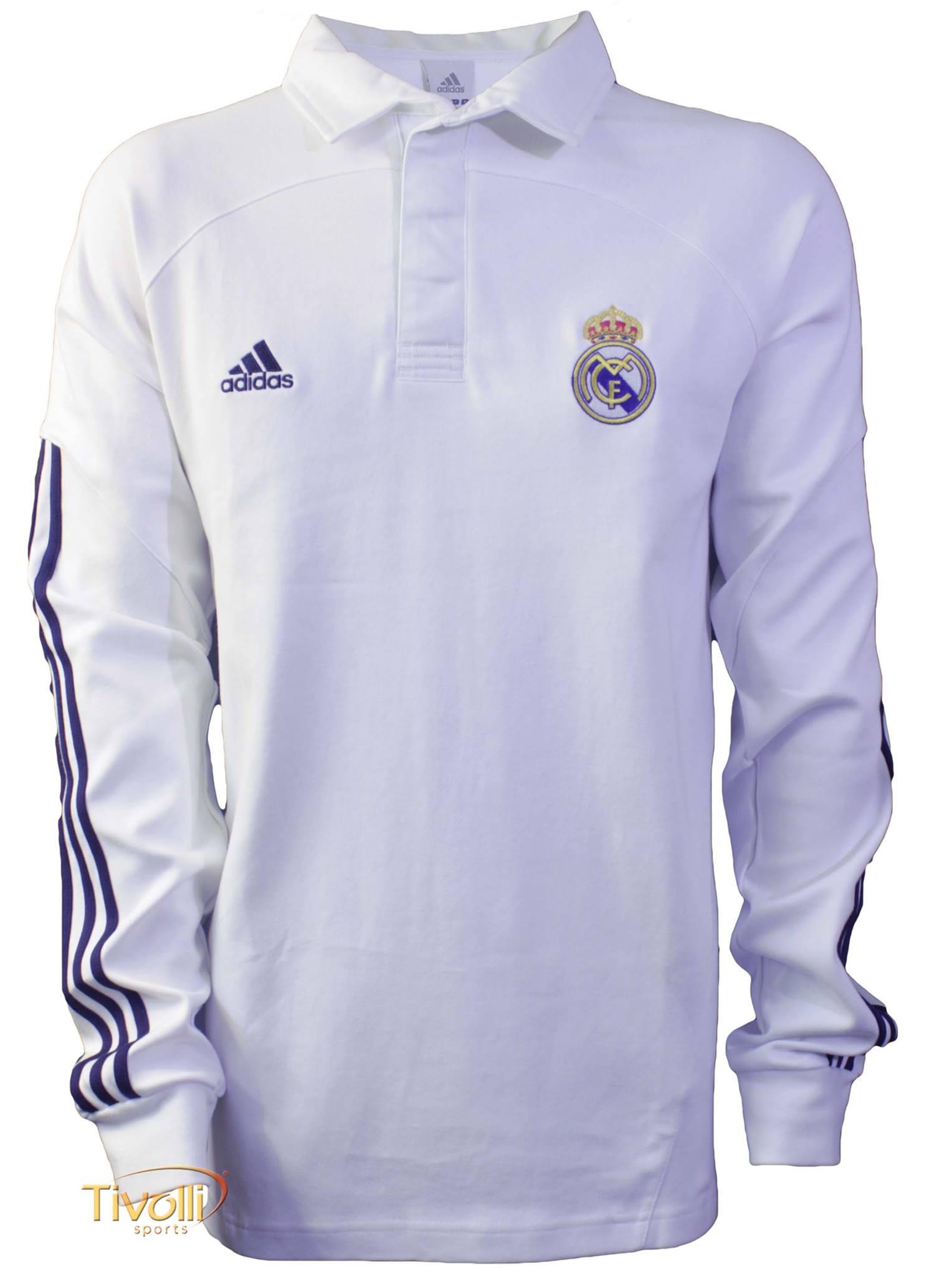 Black Friday - Camisa Polo Viagem Real Madrid Adidas Masculina Branca Manga  Longa e2bc3ffabfdd5