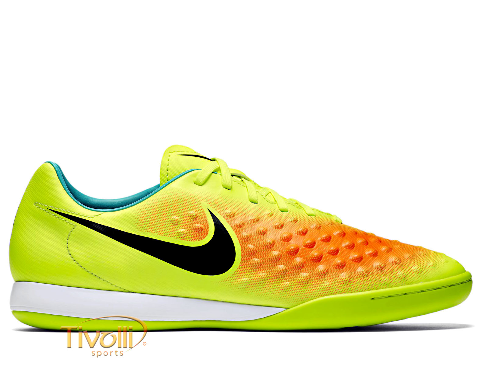 2b30ec467042e Chuteira Nike Magistax Opus II IC Infantil Futsal Verde Flúor e Laranja