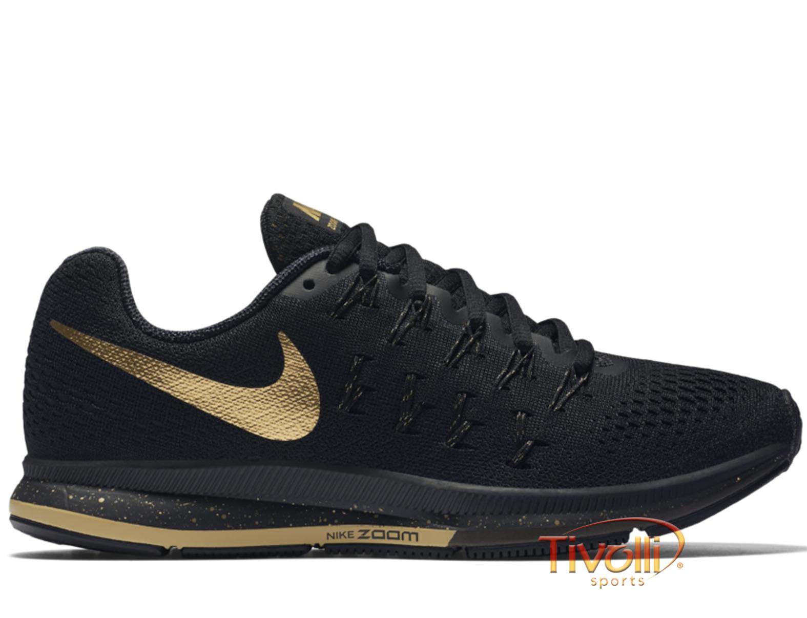 0dfa05c30c0 Tênis Nike Air Zoom Pegasus 33 LE BG   Preto e Dourado