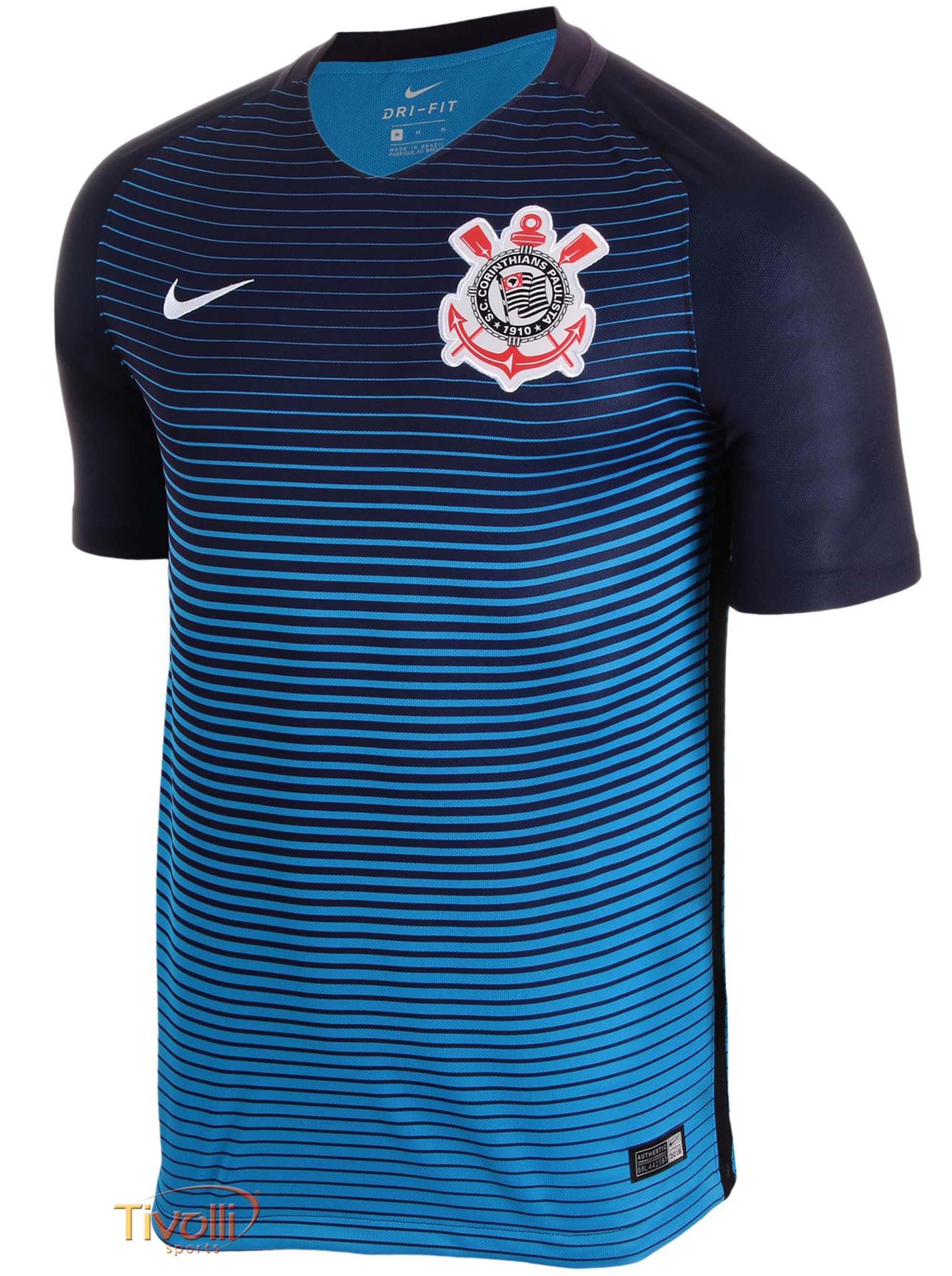 Camiseta Nike Corinthians III 2016 2017 Torcedor Masculina   Azul   51e2d78068a80
