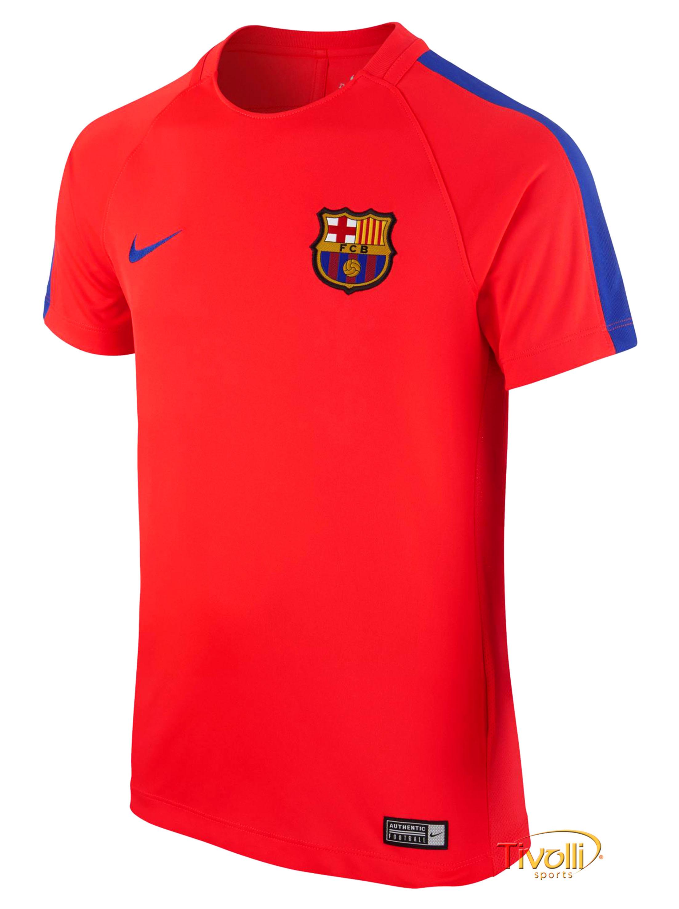 cd4eb4ebfe Camiseta Barcelona Dry Top Squad Nike Infantil   Coral e Azul